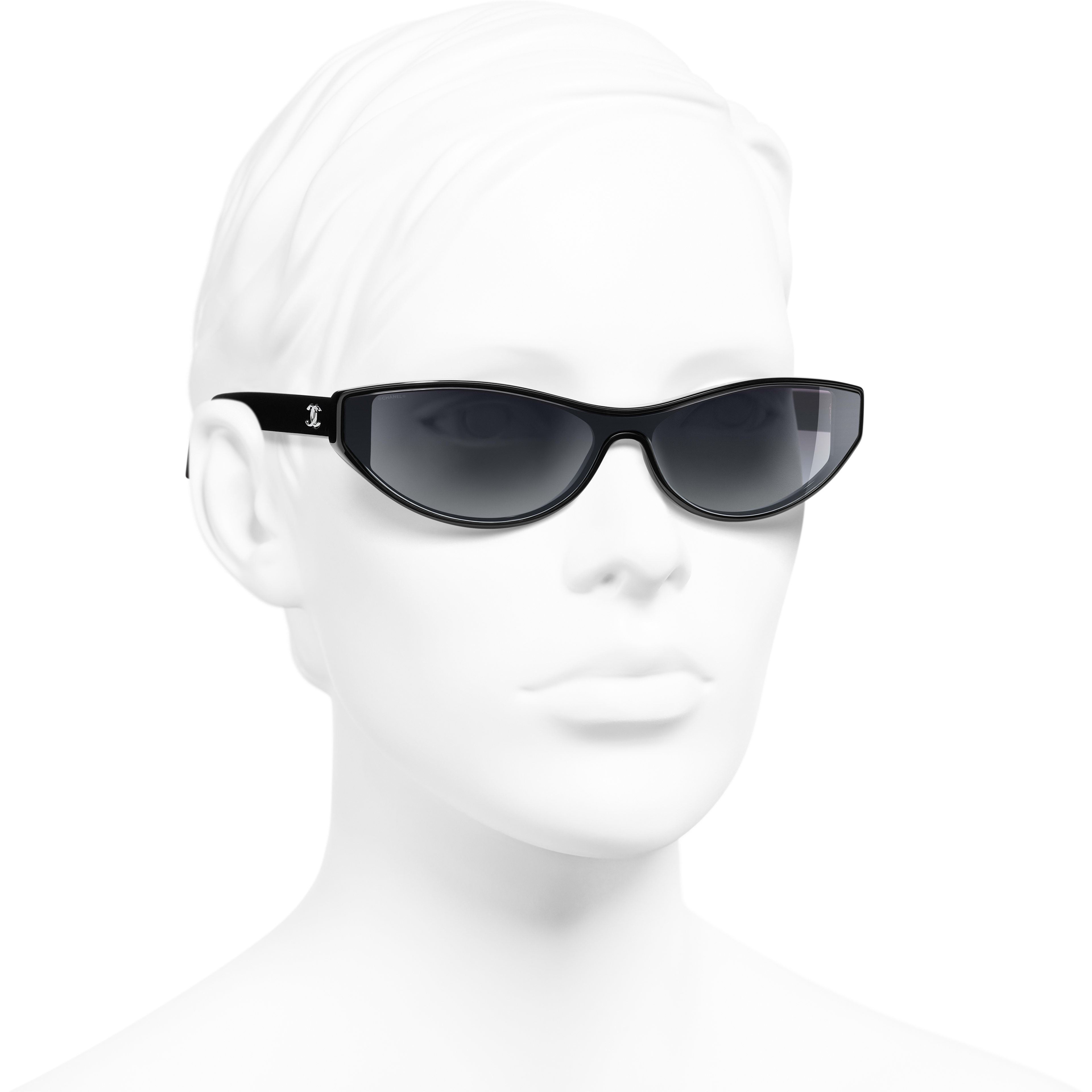 Cat Eye Sunglasses - Black - Acetate - Worn 3/4 view - see standard sized version