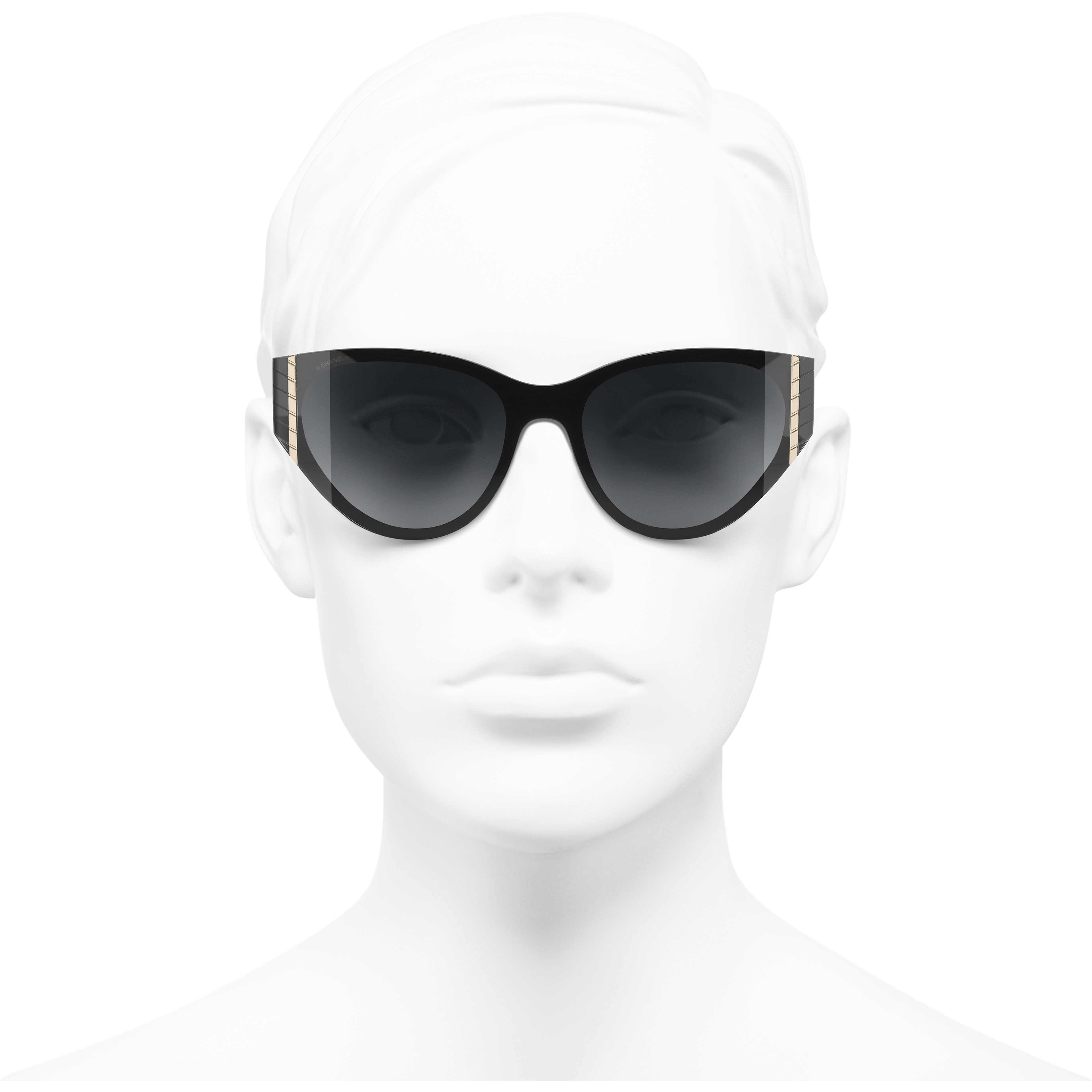 Cat Eye Sunglasses - Black - Acetate - CHANEL - Worn front view - see standard sized version