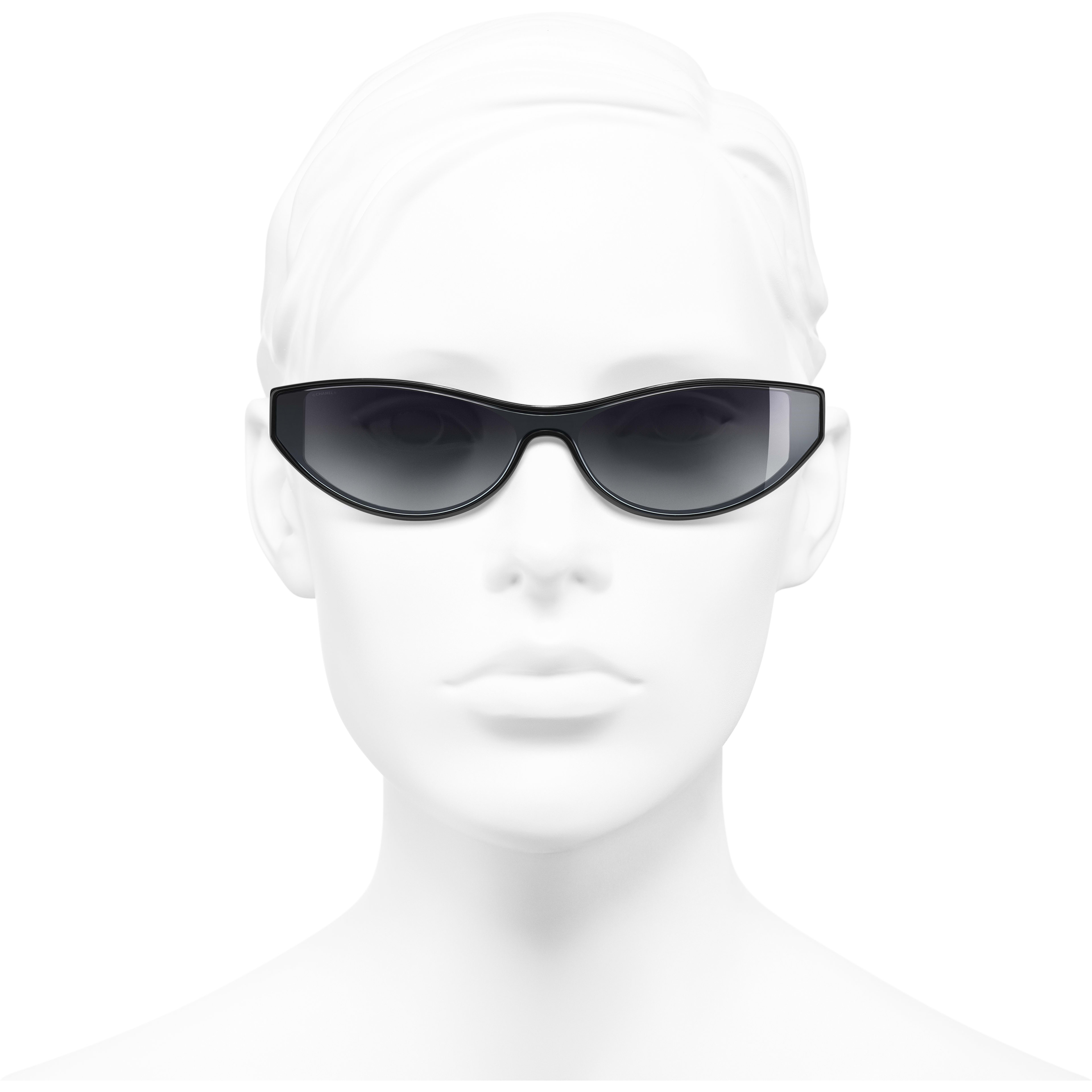 Cat Eye Sunglasses - Black - Acetate - Worn front view - see standard sized version