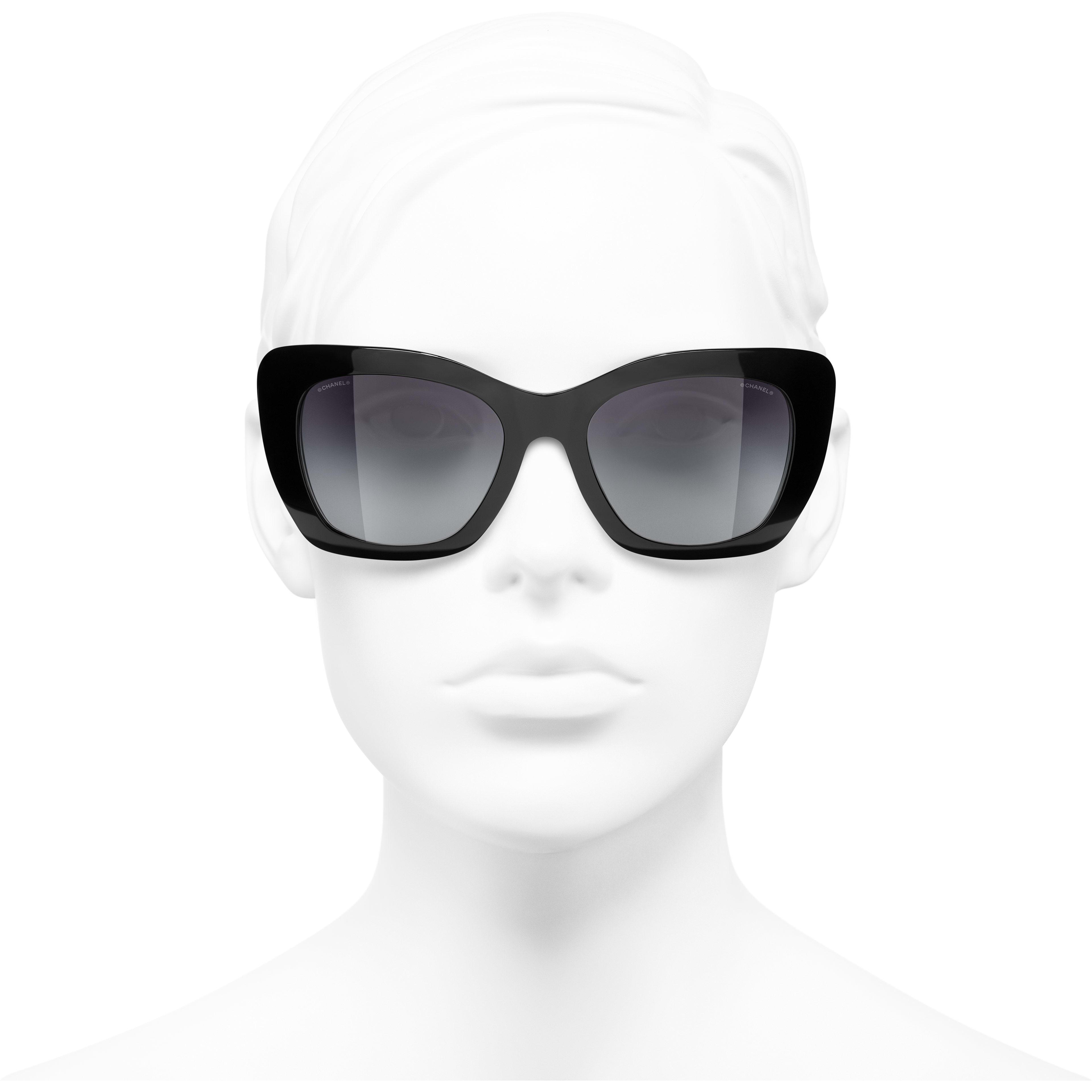 Óculos de sol com formato felino - Preto - Acetato - CHANEL - Vista de frente - ver a versão em tamanho standard
