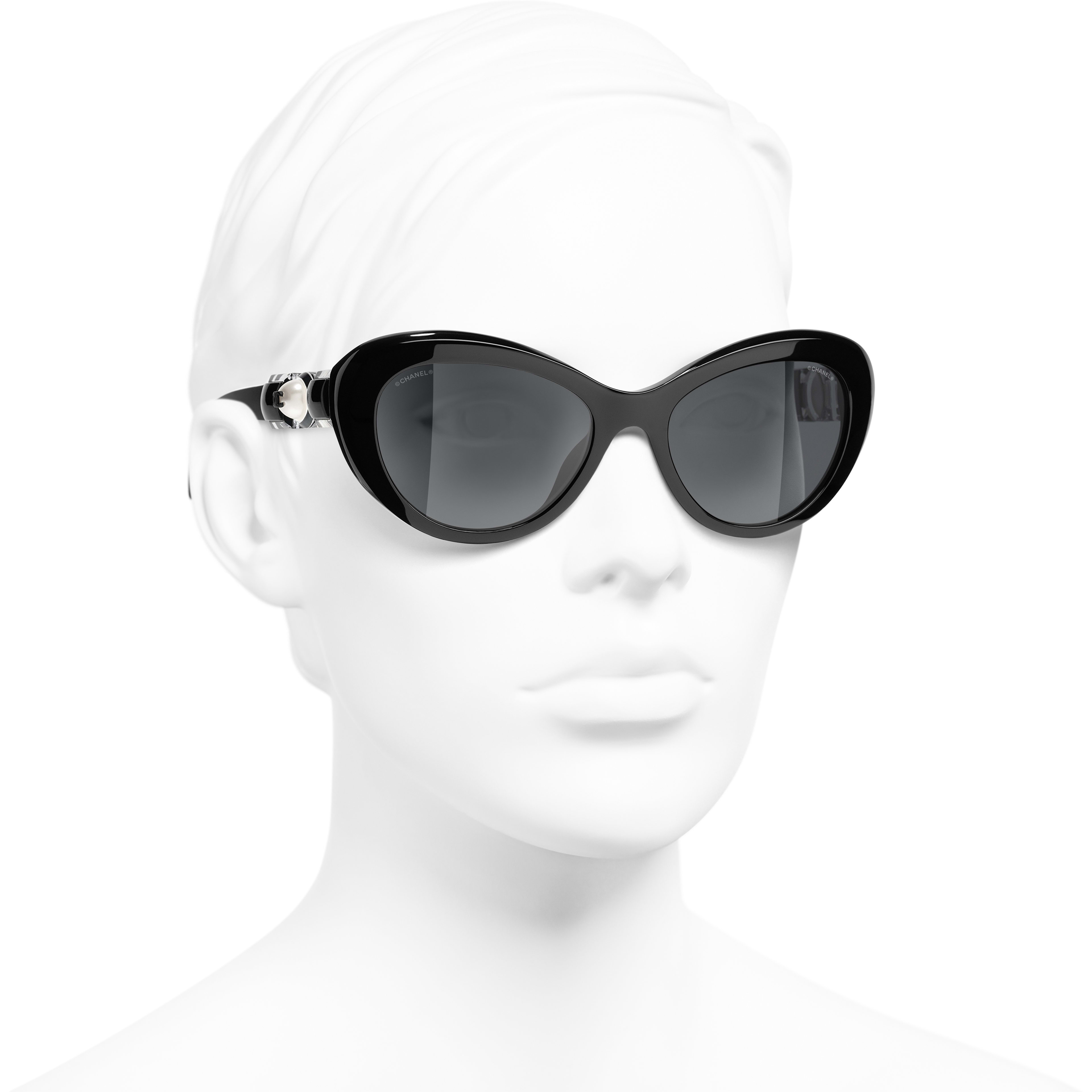 Cat Eye Sunglasses - Black - Acetate & Glass Pearls - CHANEL - Worn 3/4 view - see standard sized version