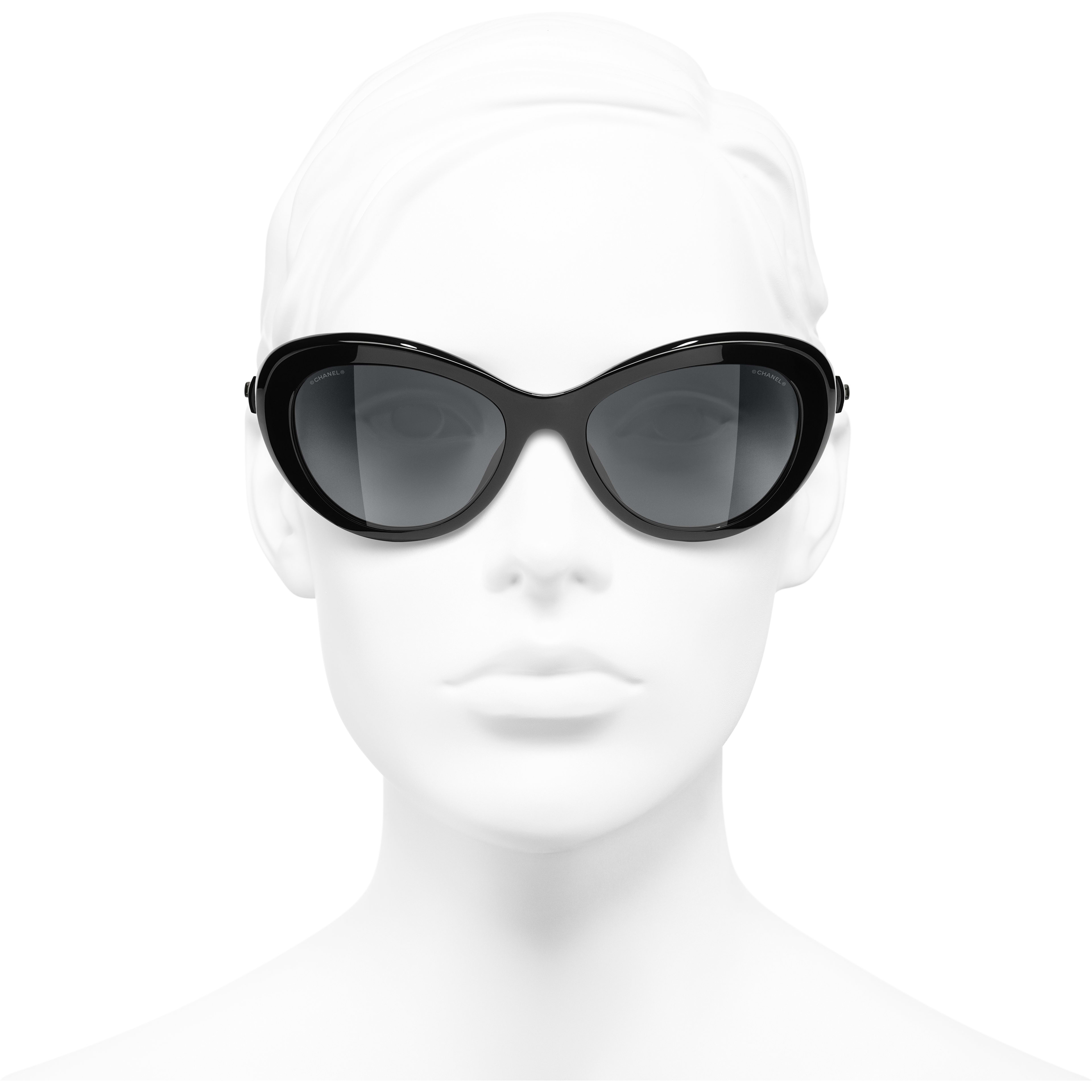 Cat Eye Sunglasses - Black - Acetate & Glass Pearls - CHANEL - Worn front view - see standard sized version