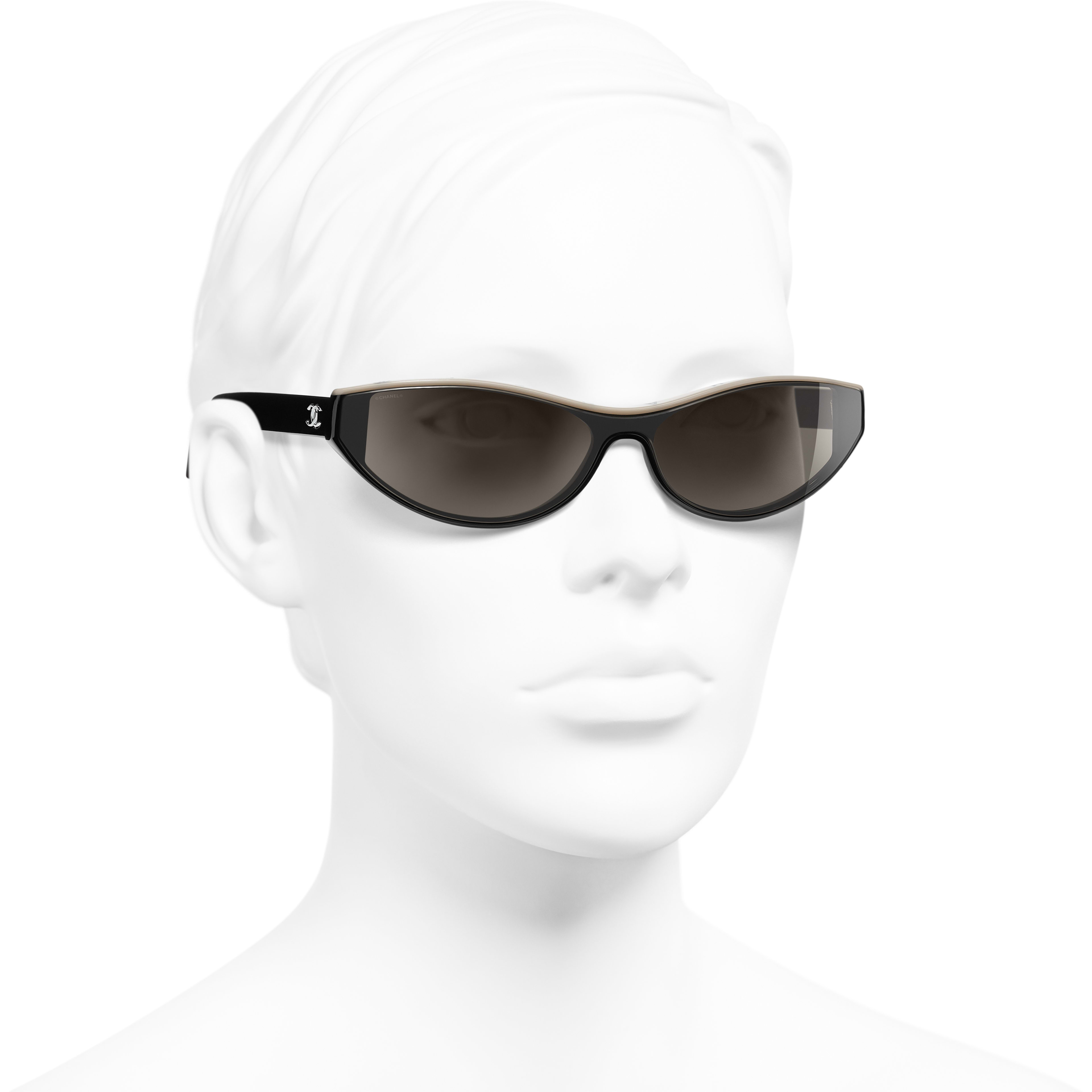 Cat Eye Sunglasses - Black & Beige - Acetate - CHANEL - Worn 3/4 view - see standard sized version