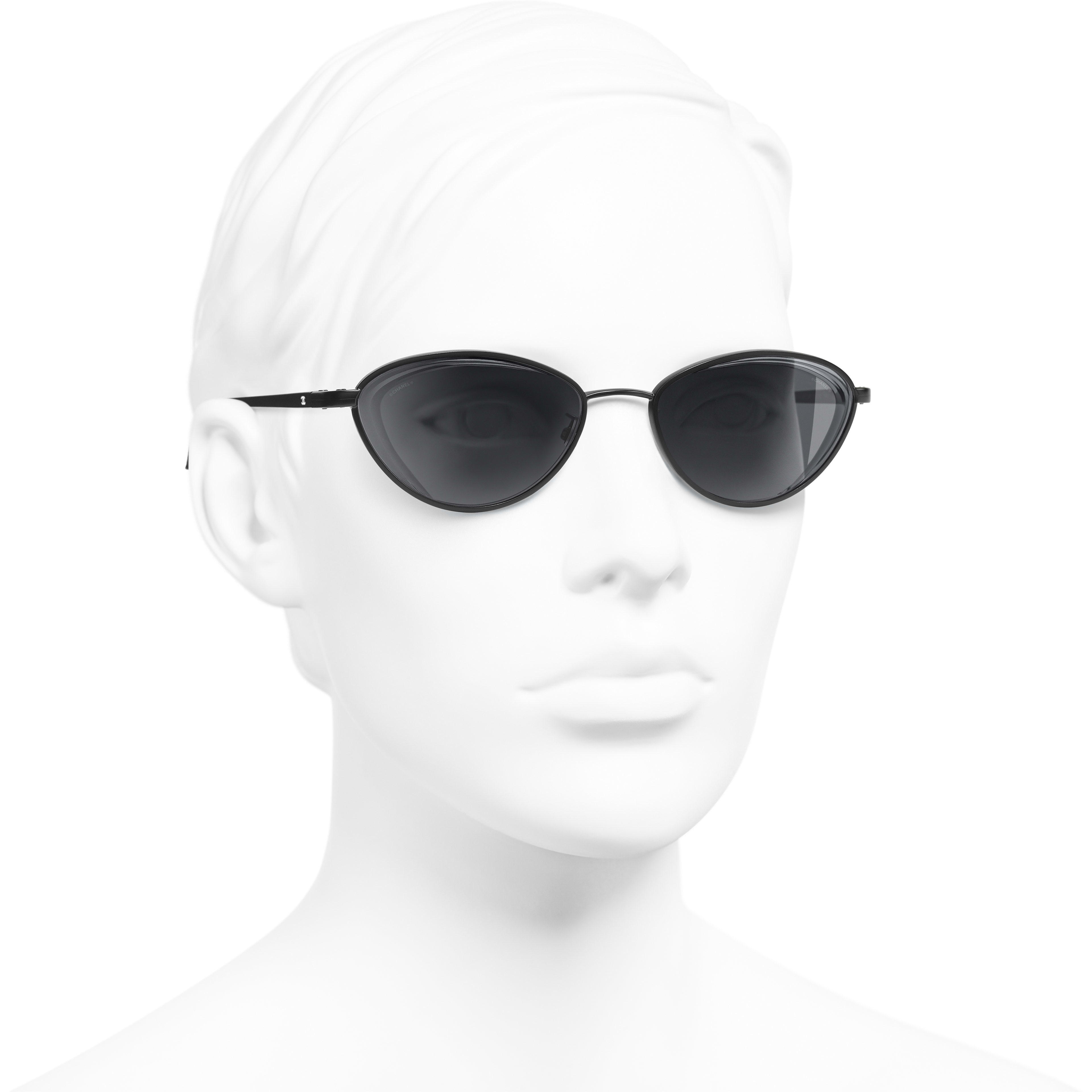 Cat Eye Sunglasses - Black - Metal - Worn 3/4 view - see standard sized version