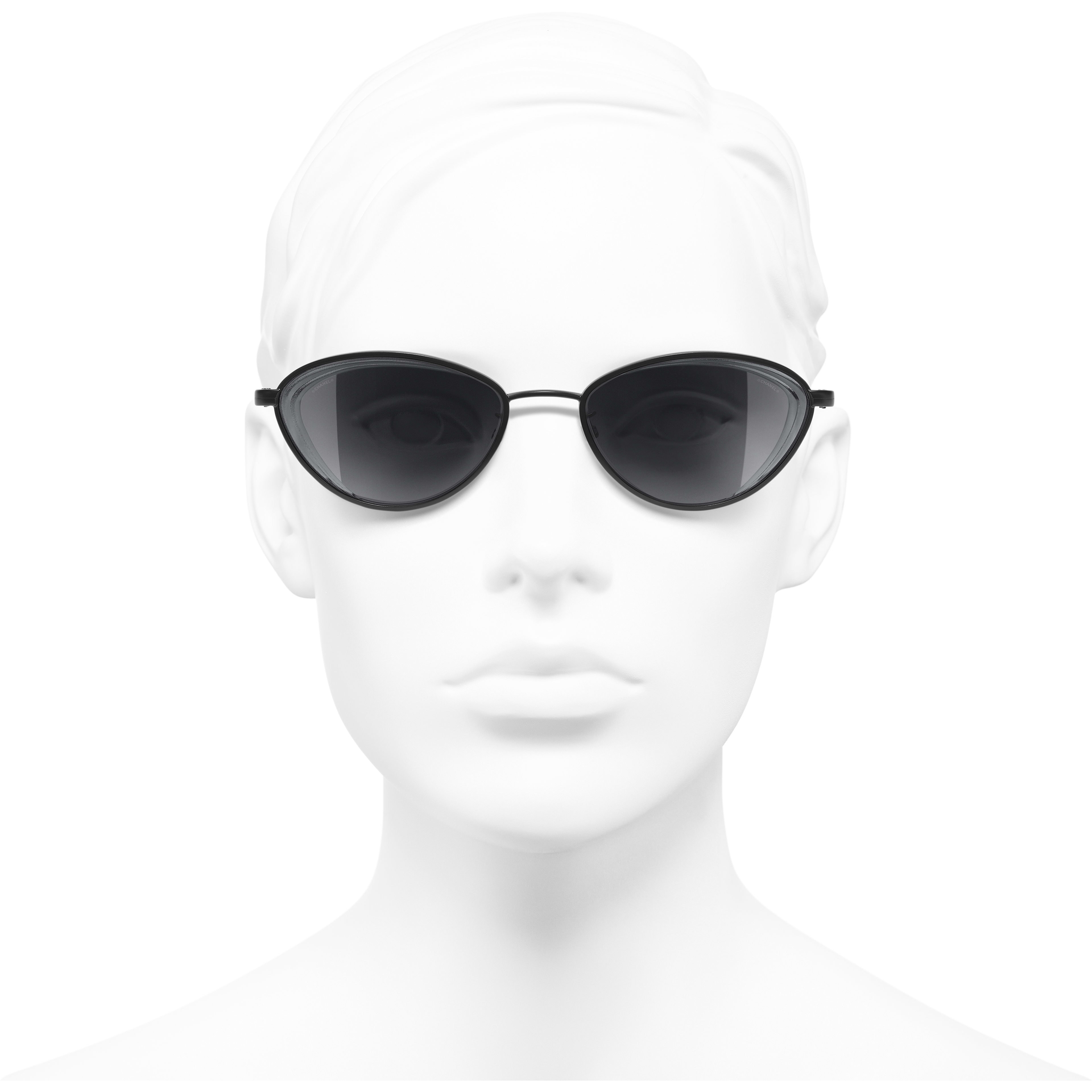 Cat Eye Sunglasses - Black - Metal - Worn front view - see standard sized version