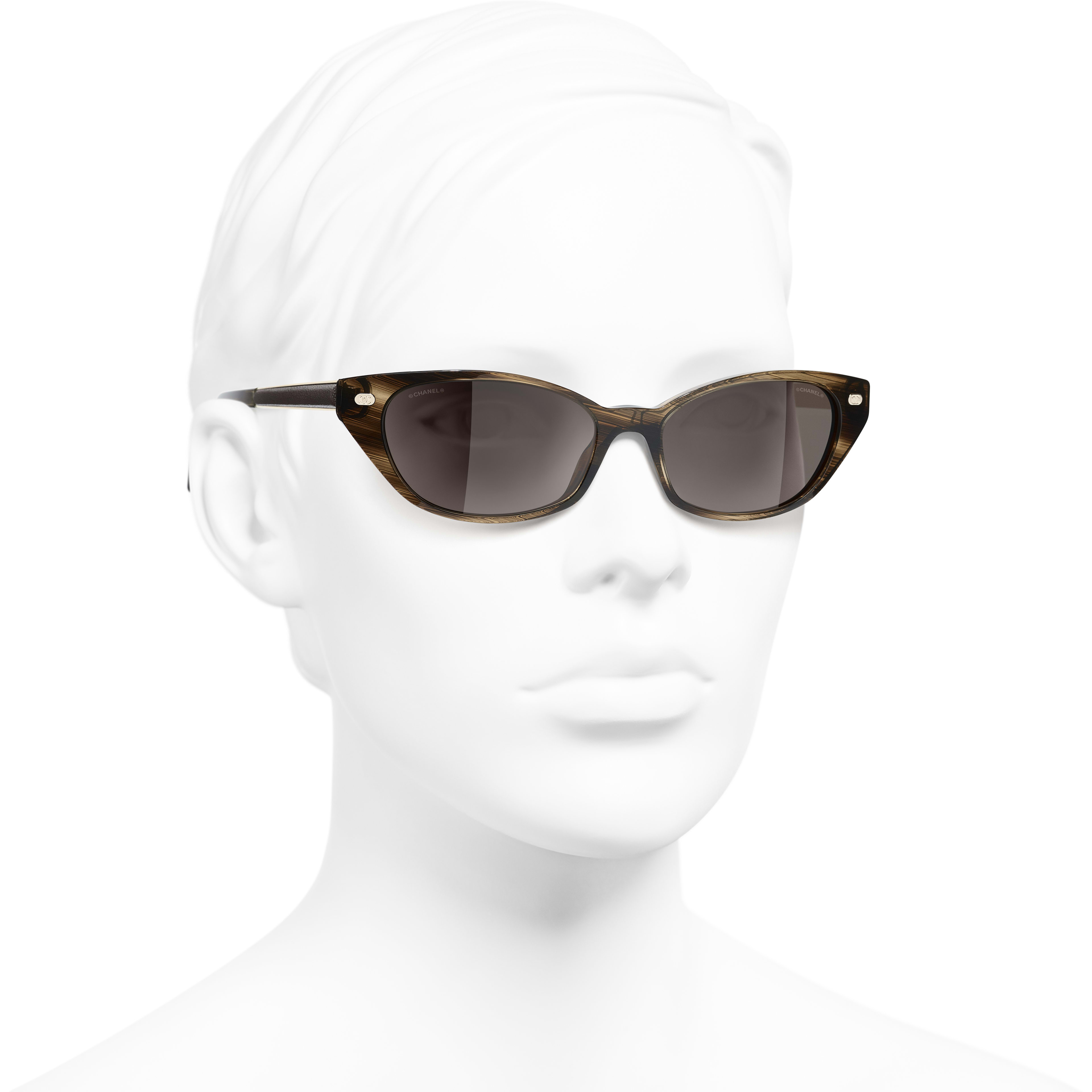 Cat Eye Sunglasses - Brown - Acetate & Calfskin - CHANEL - Worn 3/4 view - see standard sized version