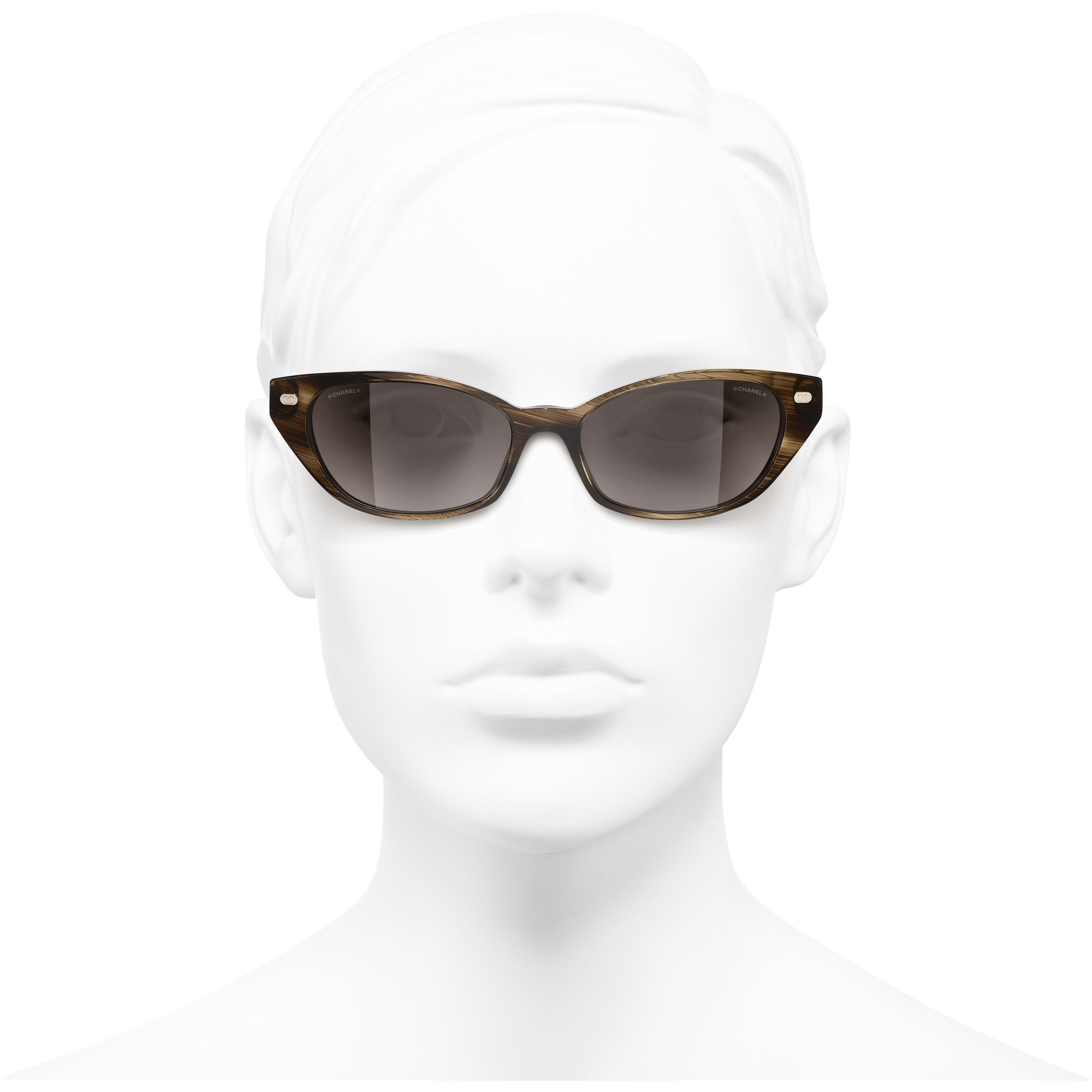 Cat Eye Sunglasses - Brown - Acetate & Lambskin - CHANEL - Worn front view - see standard sized version