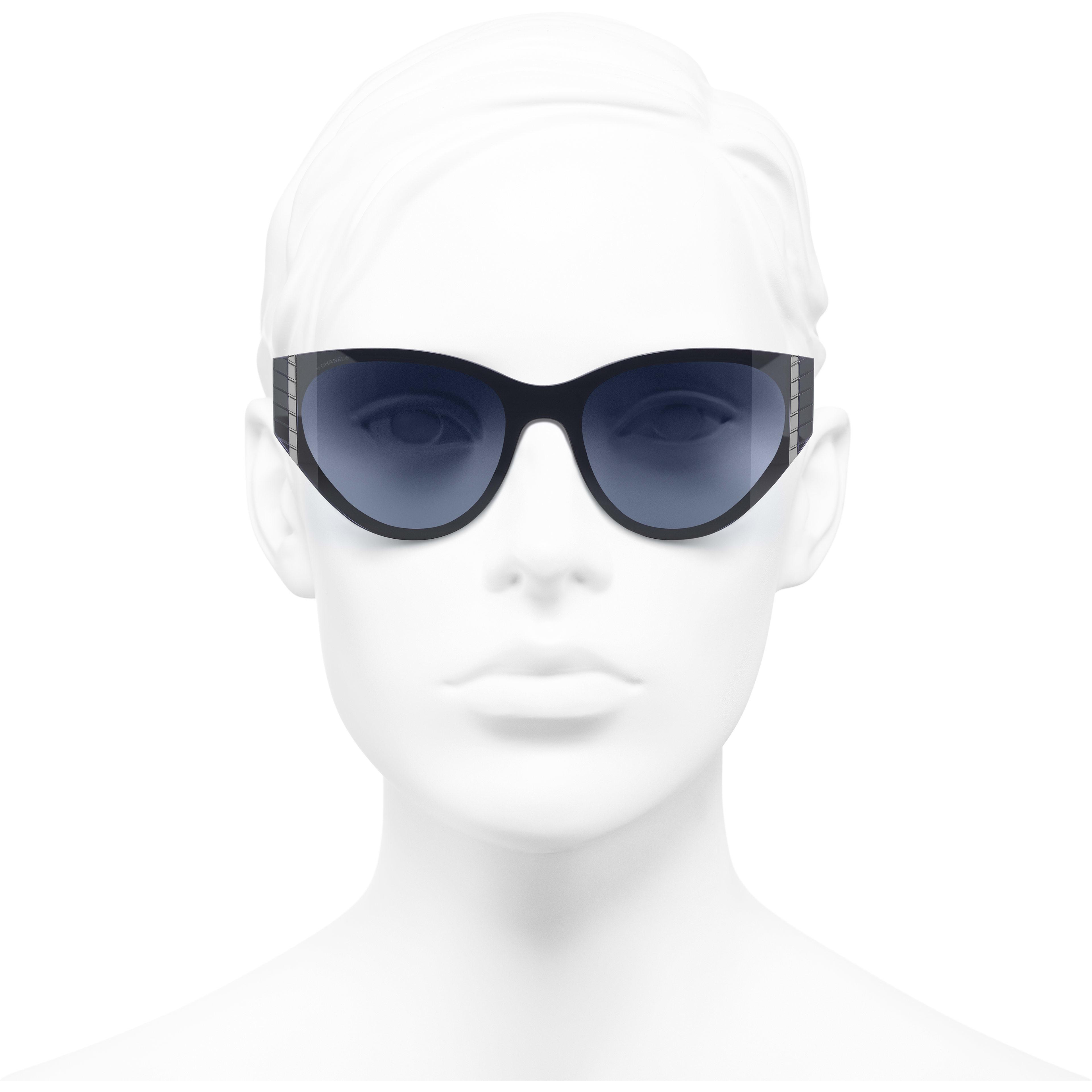 Cat Eye Sunglasses - Dark Blue - Acetate - Worn front view - see standard sized version