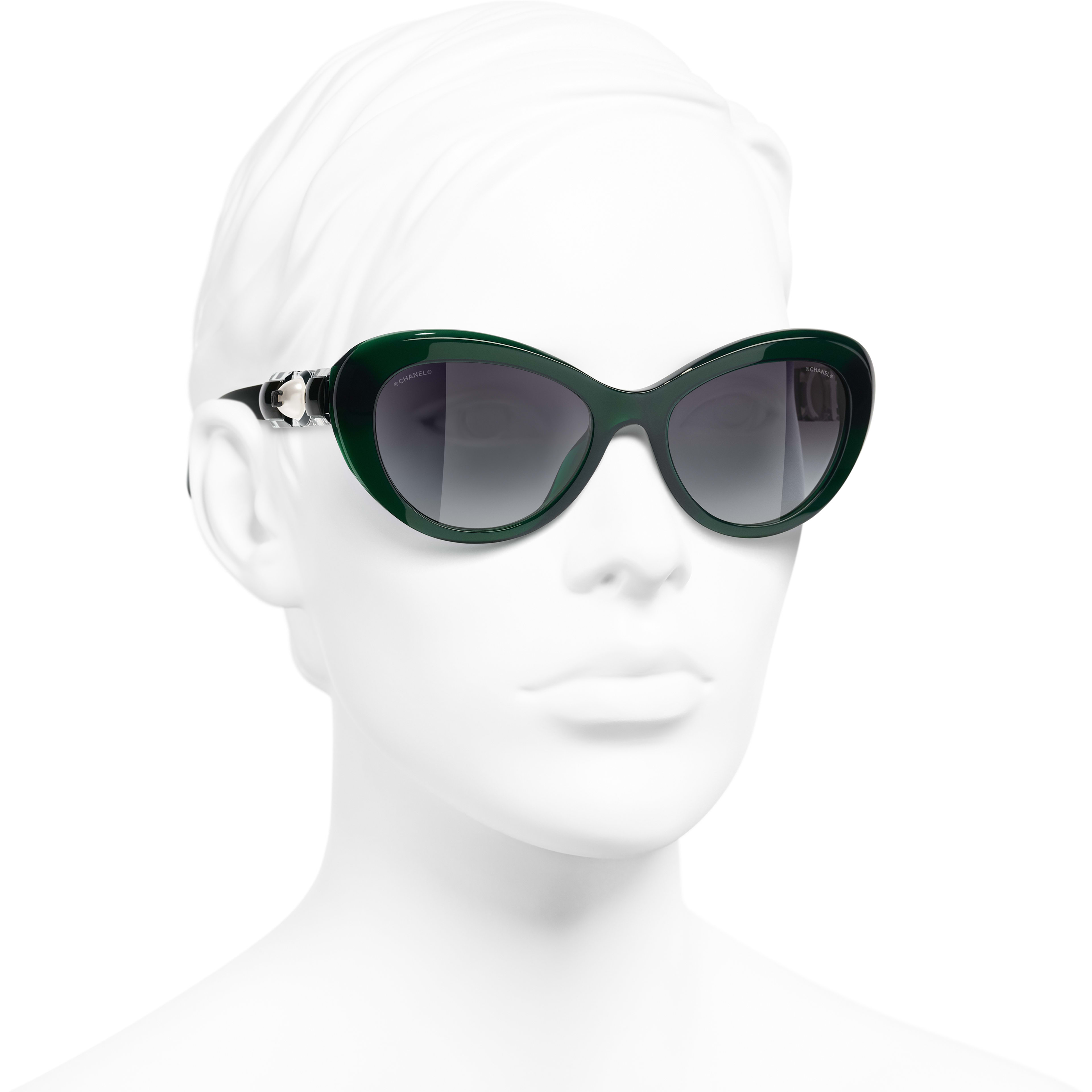 Cat Eye Sunglasses - Dark Green - Acetate & Glass Pearls - CHANEL - Worn 3/4 view - see standard sized version