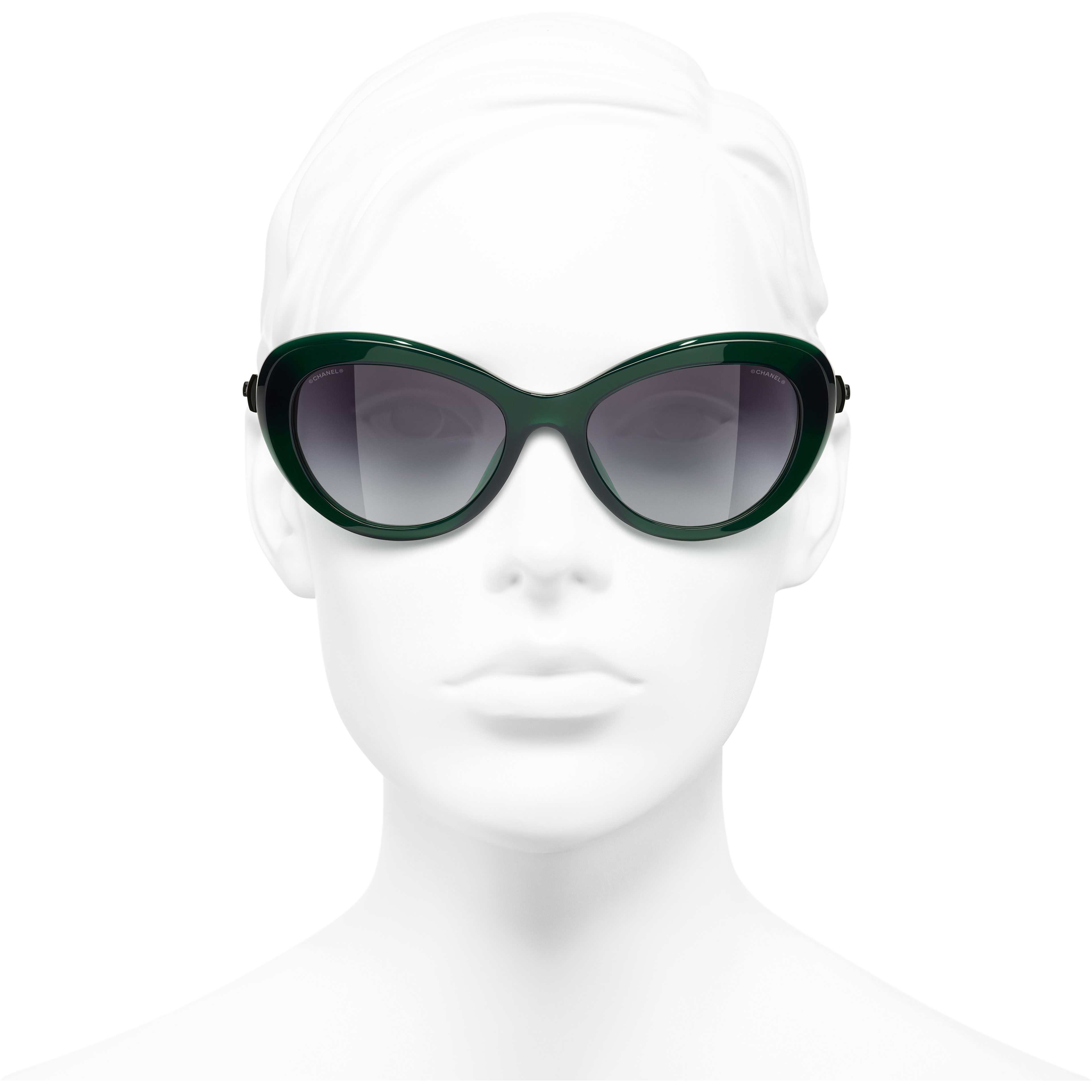 Cat Eye Sunglasses - Dark Green - Acetate & Glass Pearls - CHANEL - Worn front view - see standard sized version