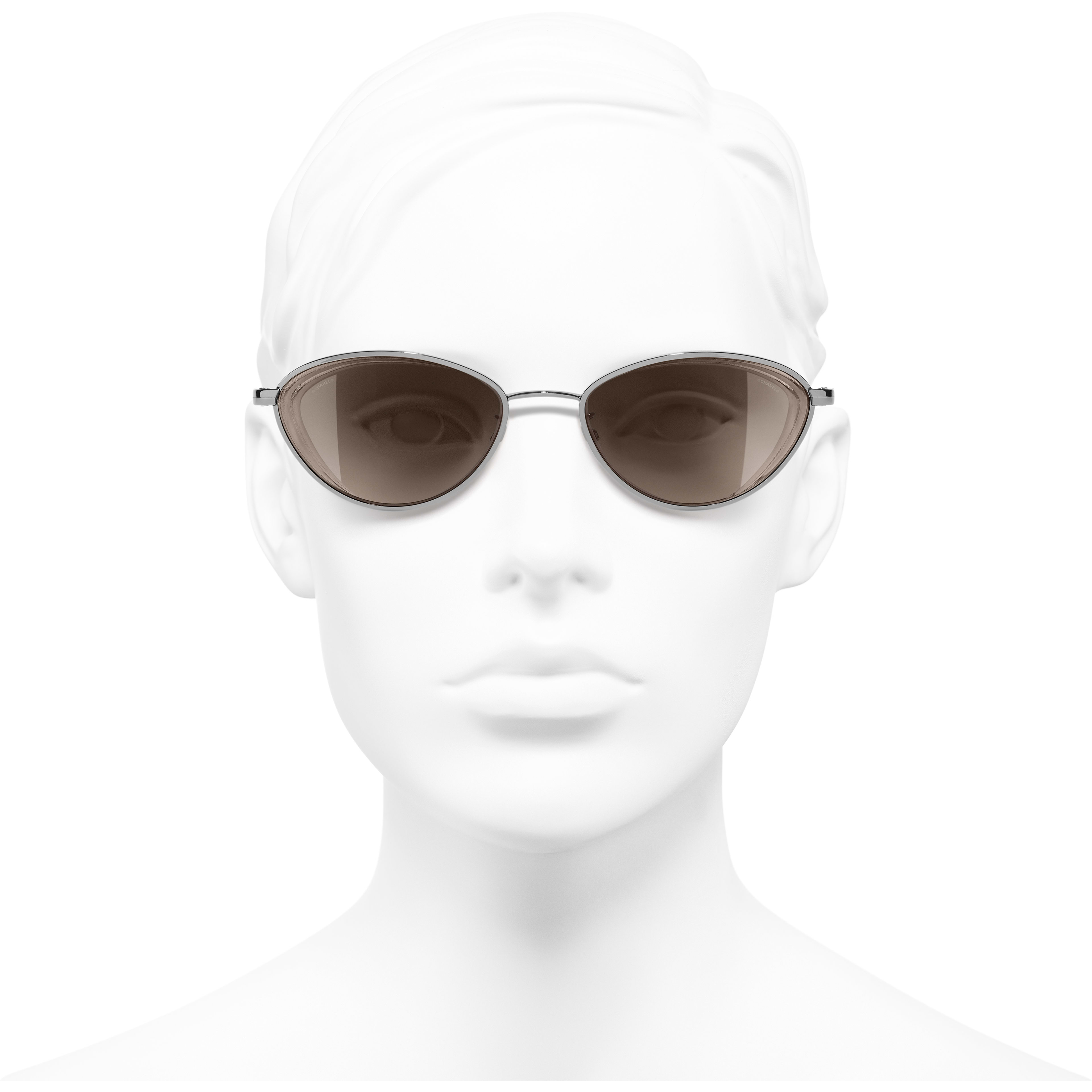Cat Eye Sunglasses - Dark Silver - Metal - Worn front view - see standard sized version
