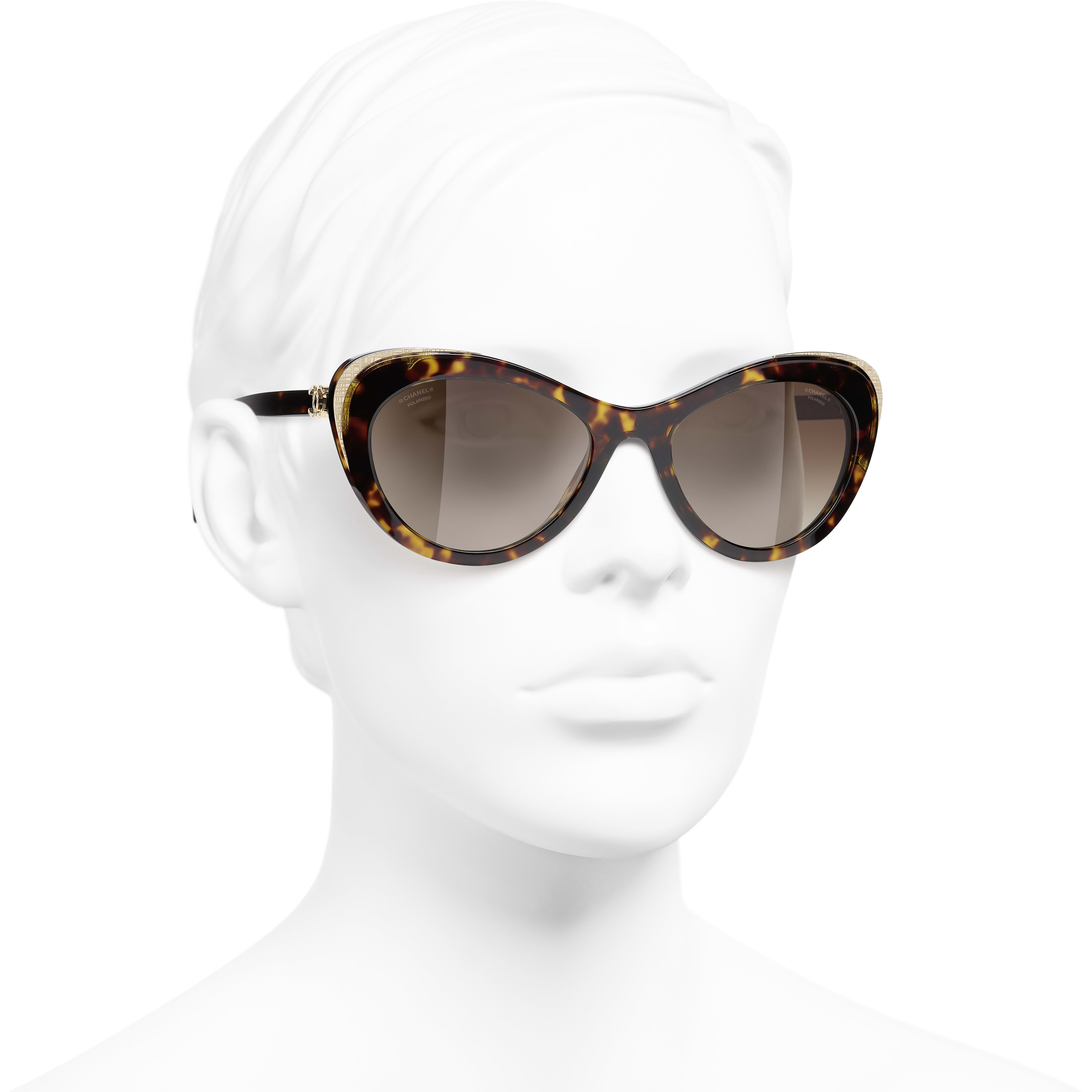 Cat Eye Sunglasses - Dark Tortoise & Gold - Acetate & Metal - CHANEL - Worn 3/4 view - see standard sized version