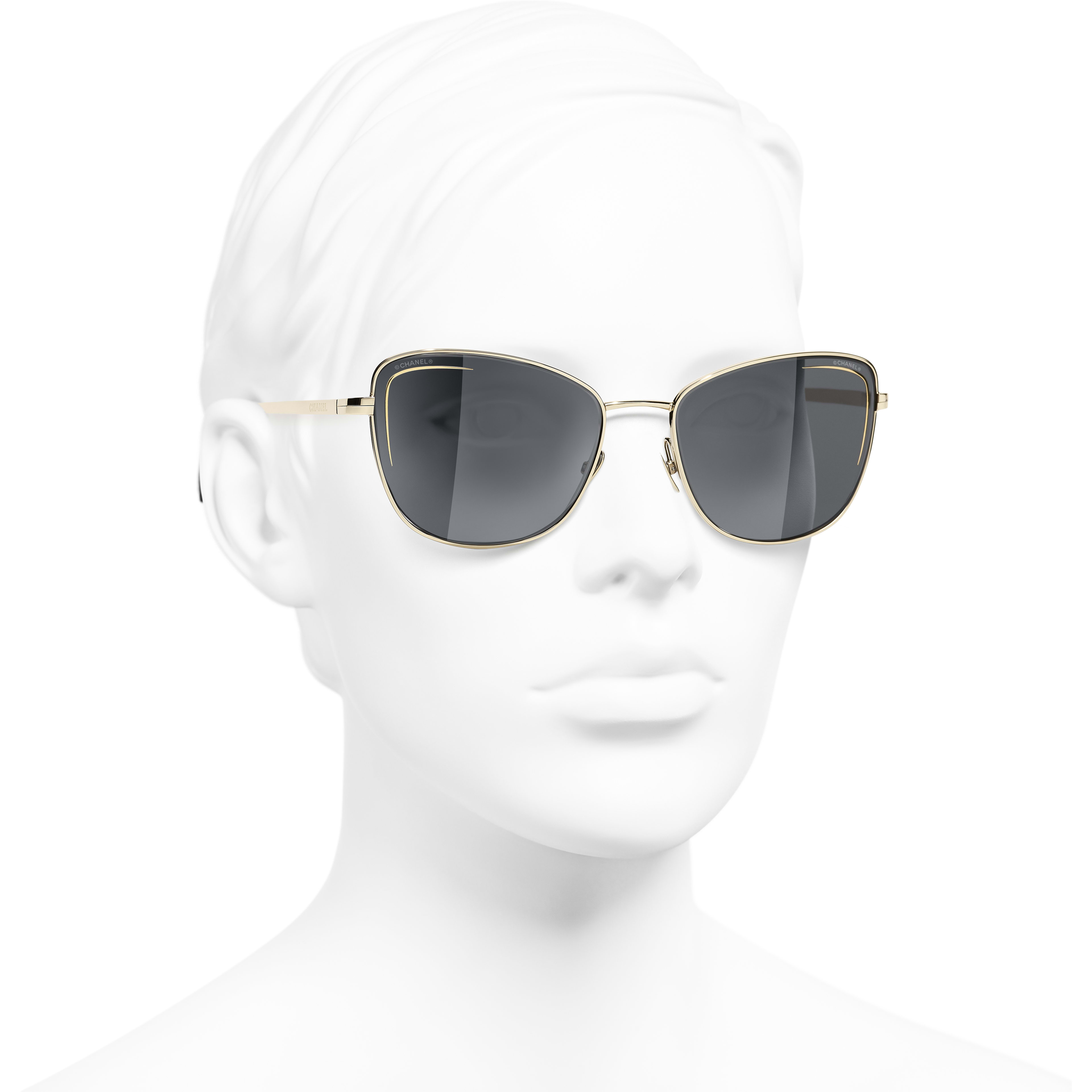 Cat Eye Sunglasses - Gold - Metal - CHANEL - Worn 3/4 view - see standard sized version