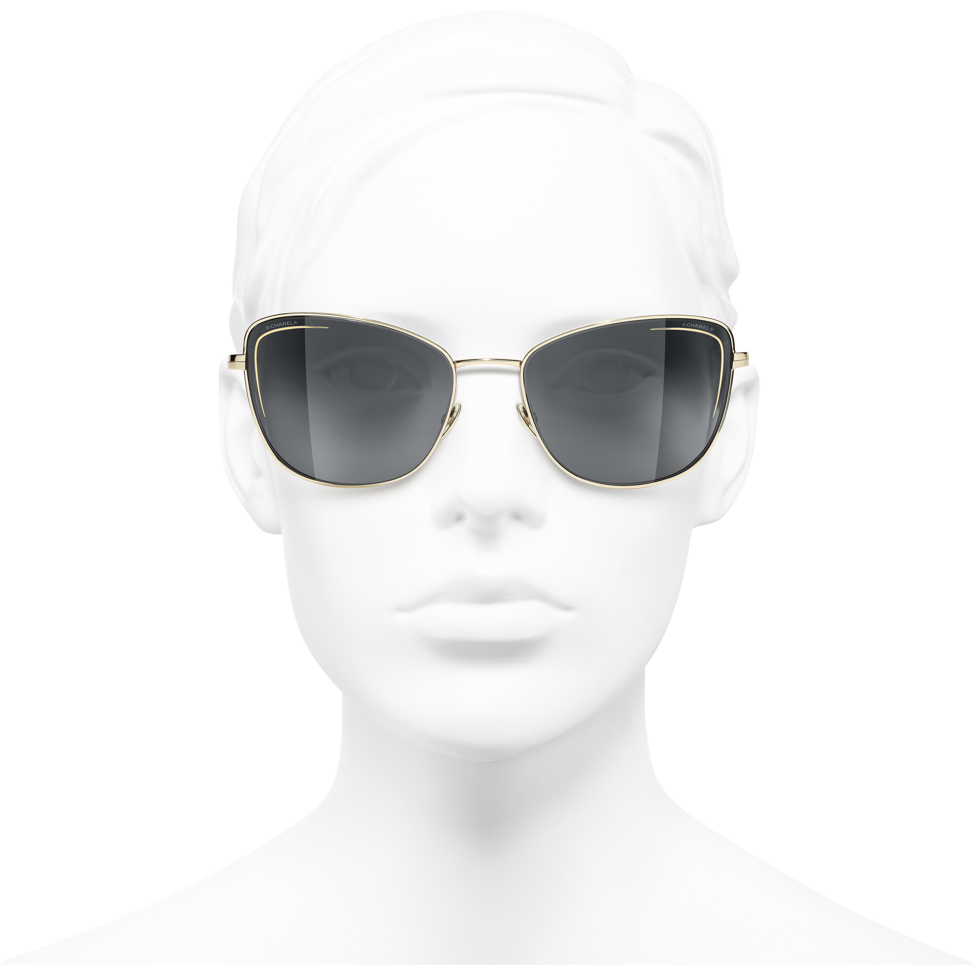 Cat Eye Sunglasses - Gold - Metal - CHANEL - Worn front view - see standard sized version