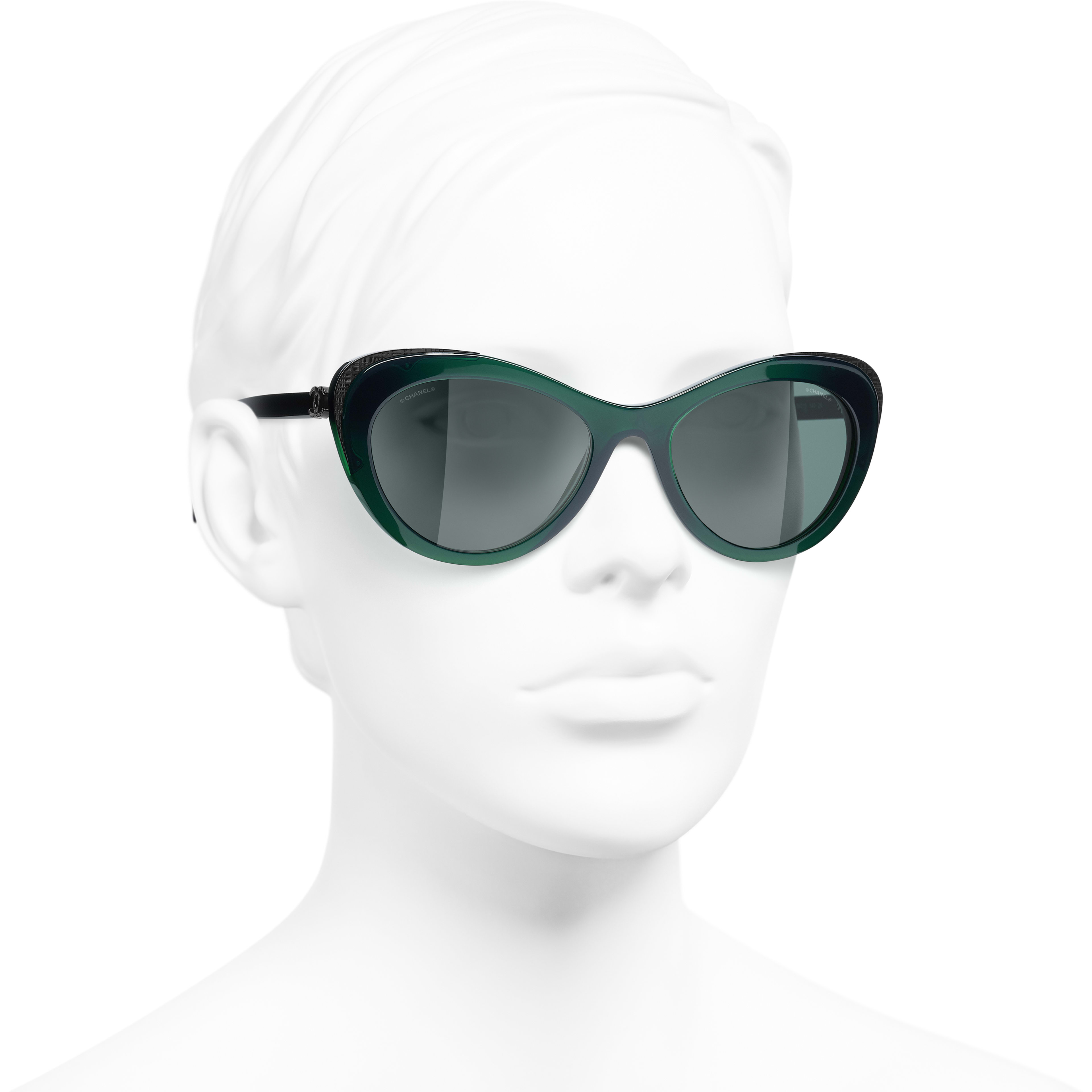Cat Eye Sunglasses - Green - Acetate & Metal - CHANEL - Worn 3/4 view - see standard sized version