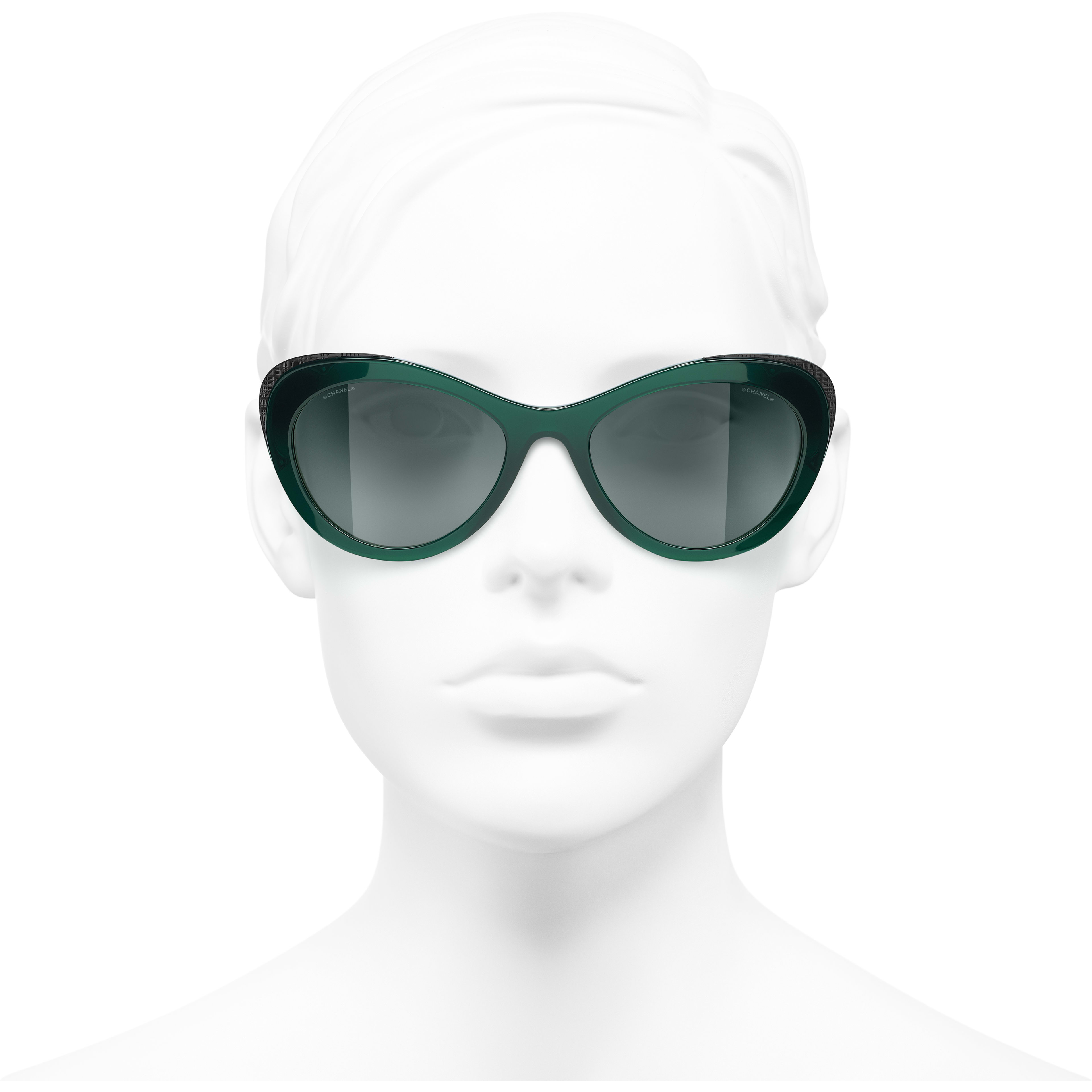 Cat Eye Sunglasses - Green - Acetate & Metal - CHANEL - Worn front view - see standard sized version