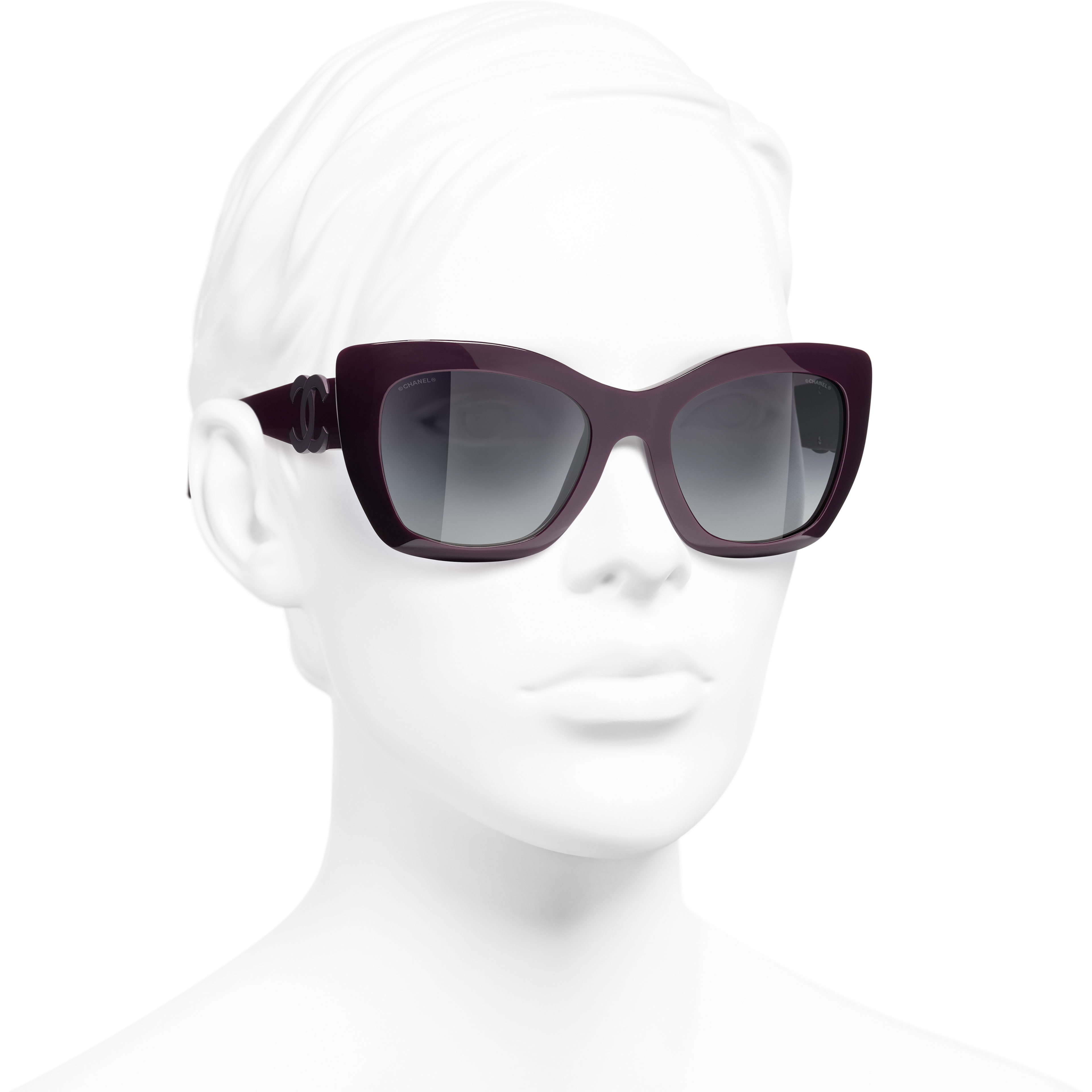 Cat Eye Sunglasses - Purple - Acetate - CHANEL - Worn 3/4 view - see standard sized version
