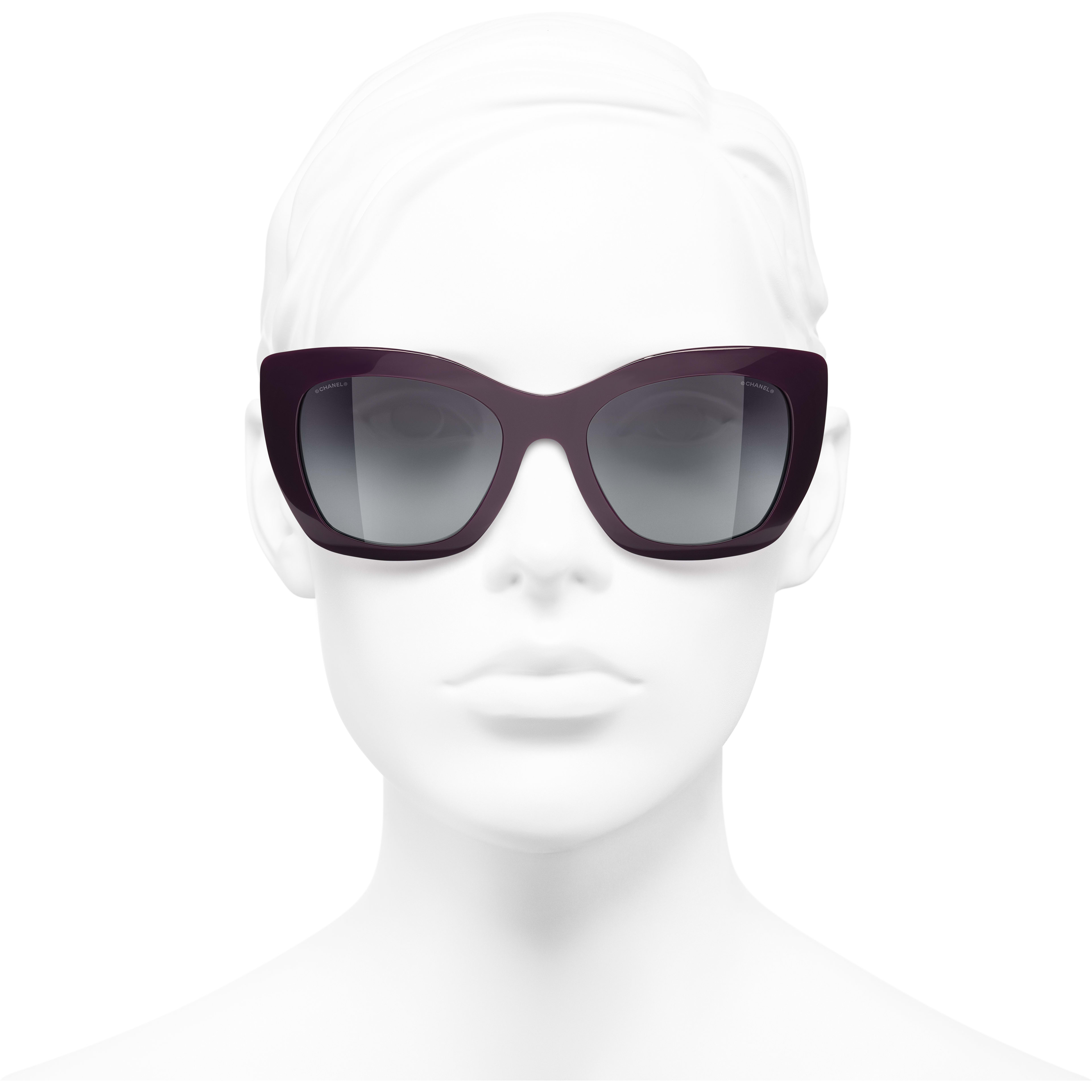 Cat Eye Sunglasses - Purple - Acetate - CHANEL - Worn front view - see standard sized version