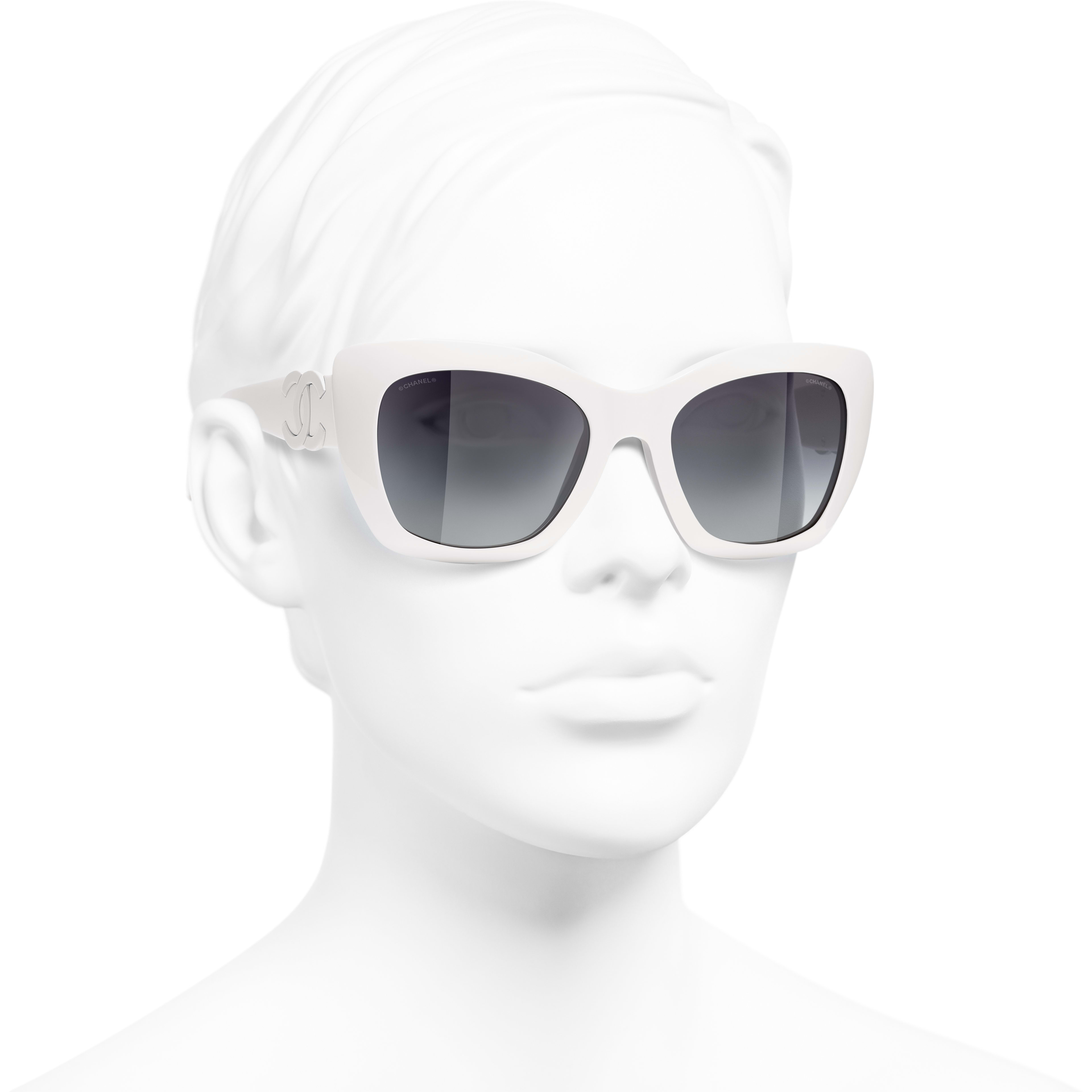 Cat Eye Sunglasses - White - Acetate - CHANEL - Worn 3/4 view - see standard sized version