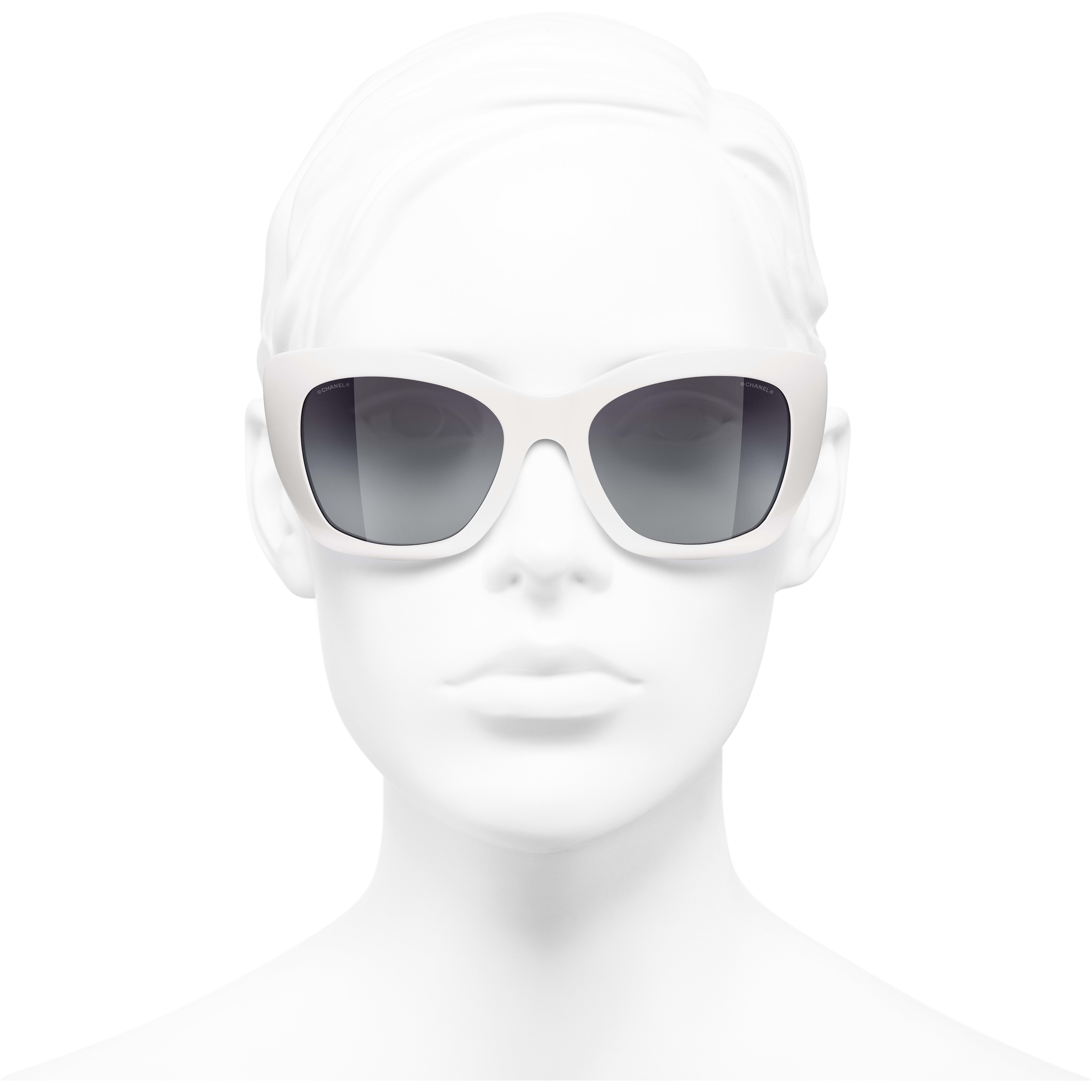 Cat Eye Sunglasses - White - Acetate - CHANEL - Worn front view - see standard sized version