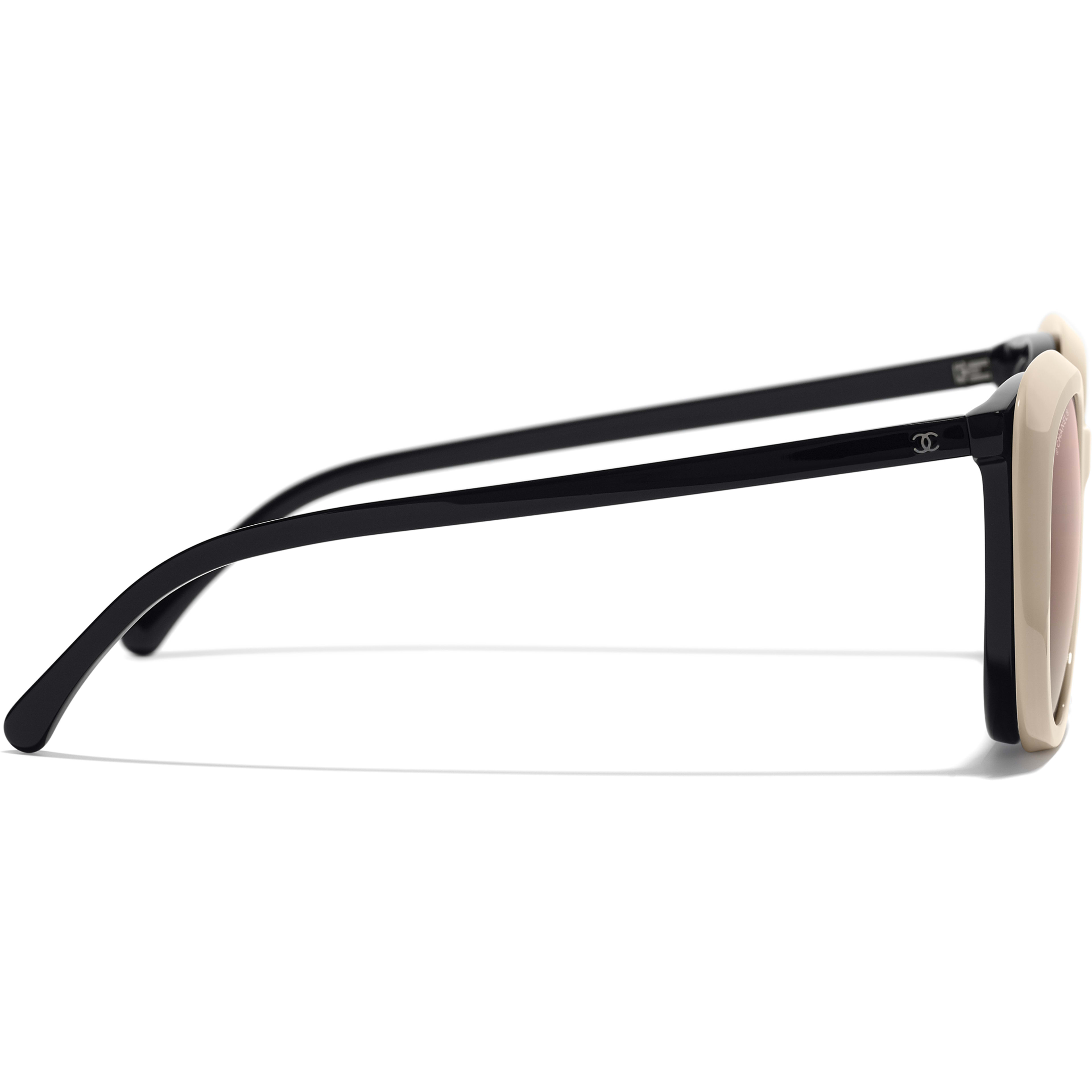 Clip on Sunglasses - Black - Acetate & Metal - Worn side view - see standard sized version