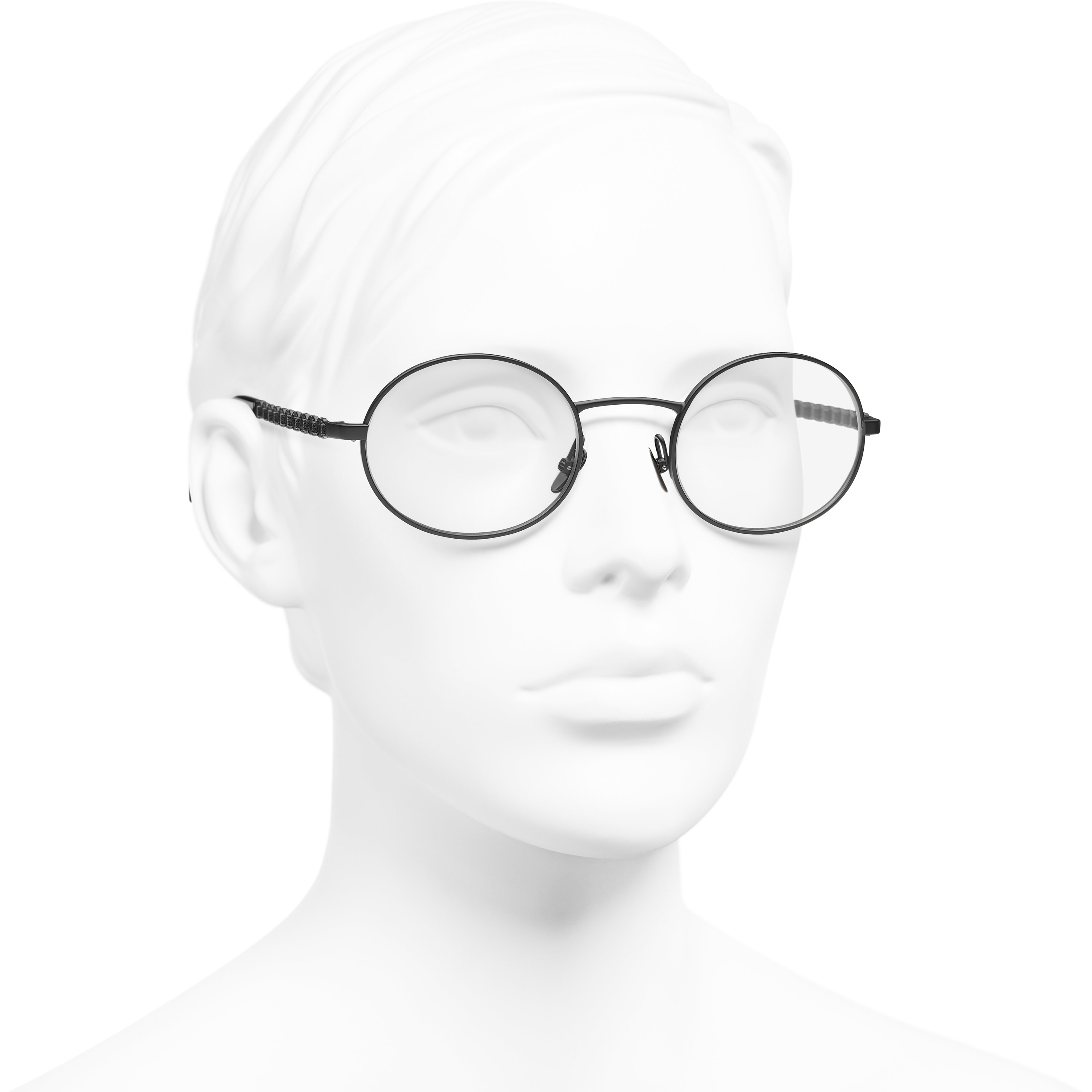 Oval Eyeglasses - Black - Metal & Calfskin - CHANEL - Worn 3/4 view - see standard sized version