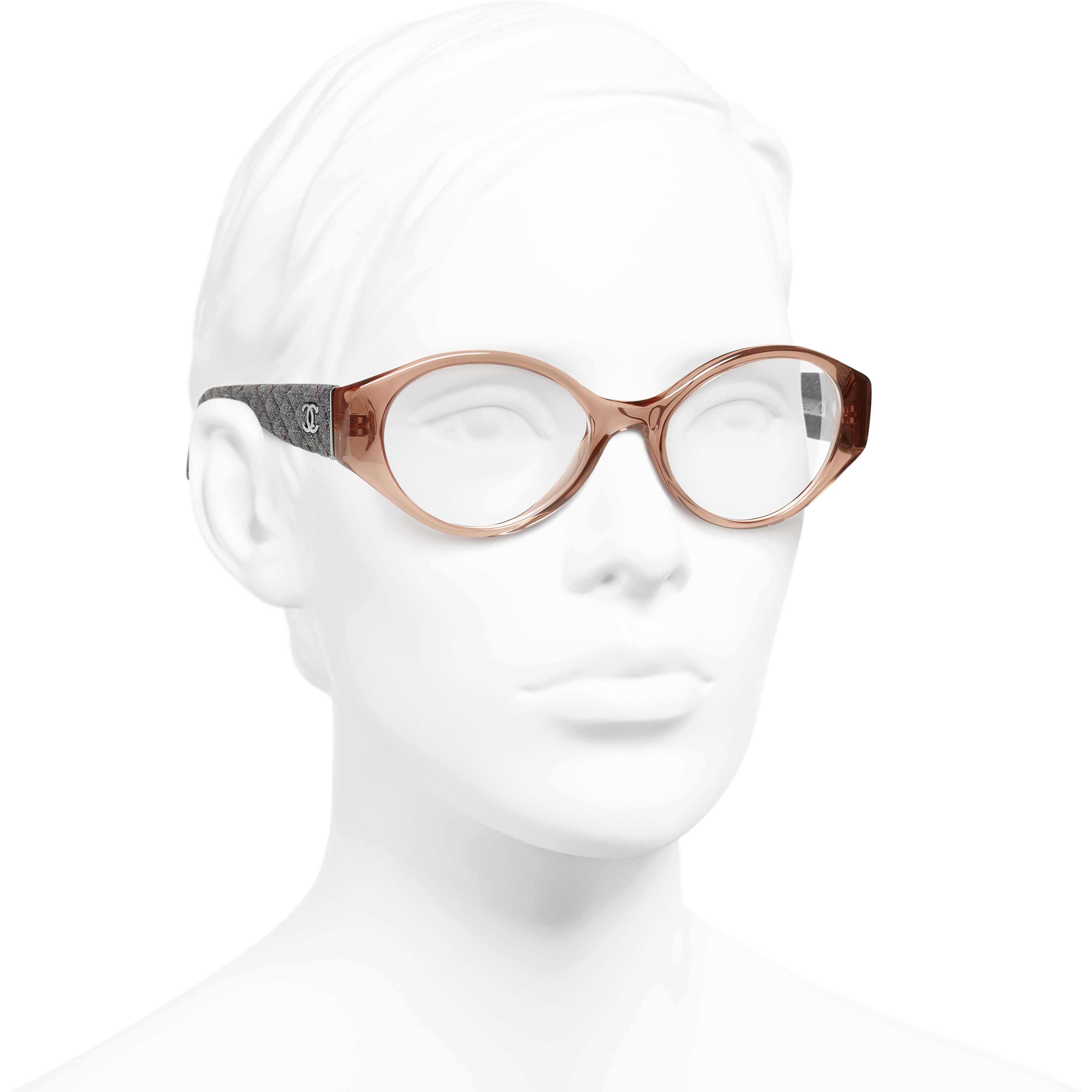Oval Eyeglasses - Brown & Grey - Acetate & Denim - Worn 3/4 view - see standard sized version