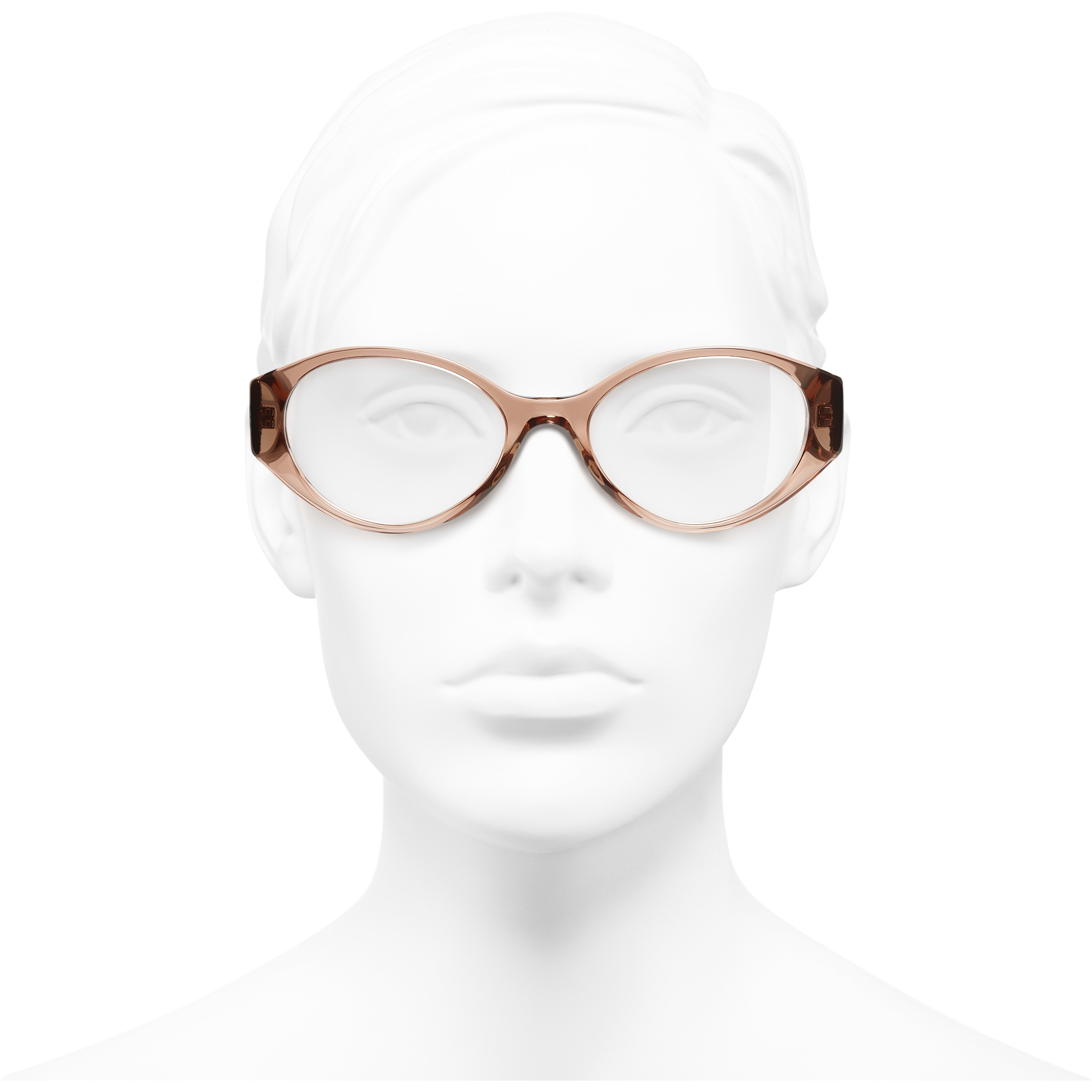 Oval Eyeglasses - Brown & Grey - Acetate & Denim - Worn front view - see standard sized version
