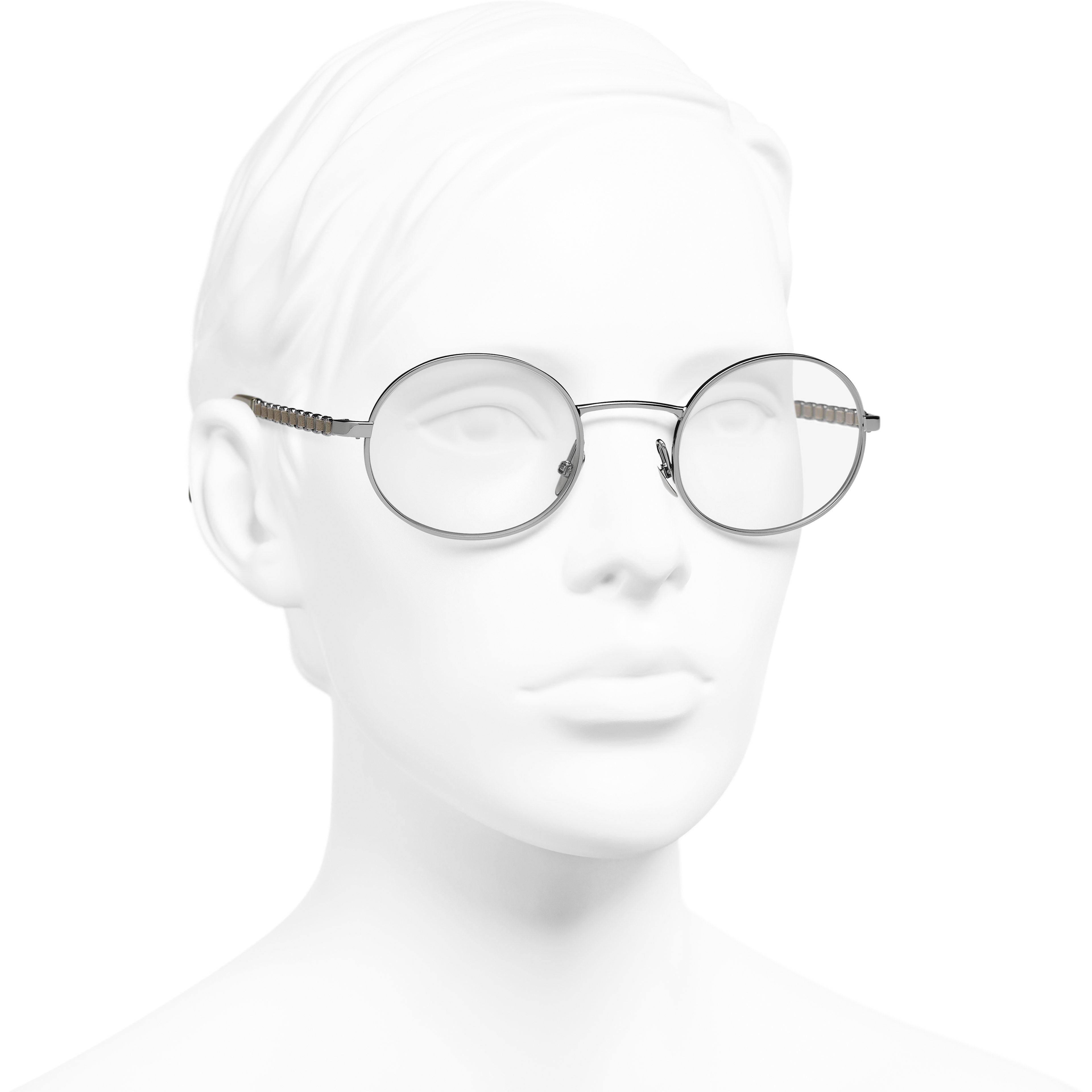Oval Eyeglasses - Dark Silver - Metal & Calfskin - CHANEL - Worn 3/4 view - see standard sized version