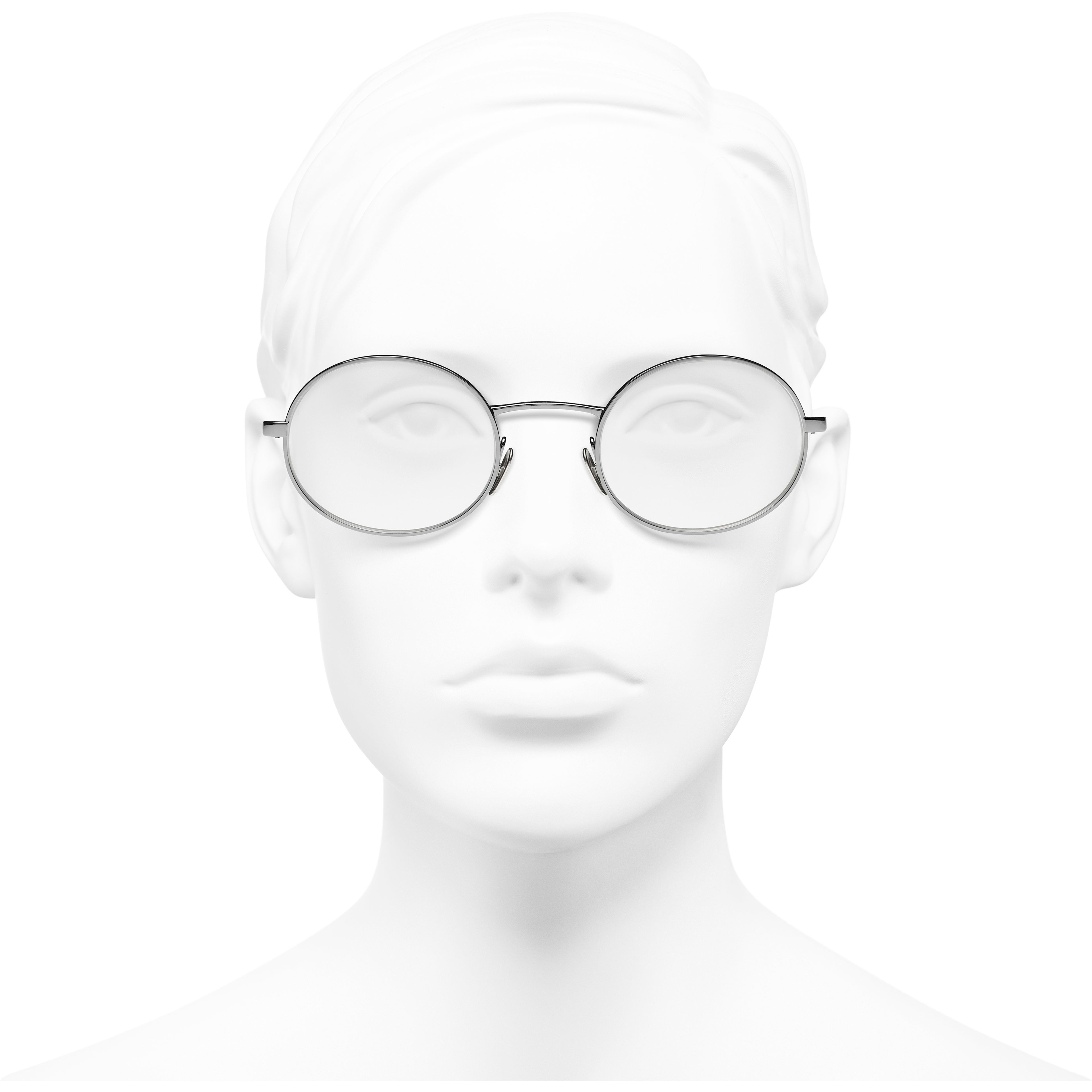 Oval Eyeglasses - Dark Silver - Metal & Calfskin - CHANEL - Worn front view - see standard sized version