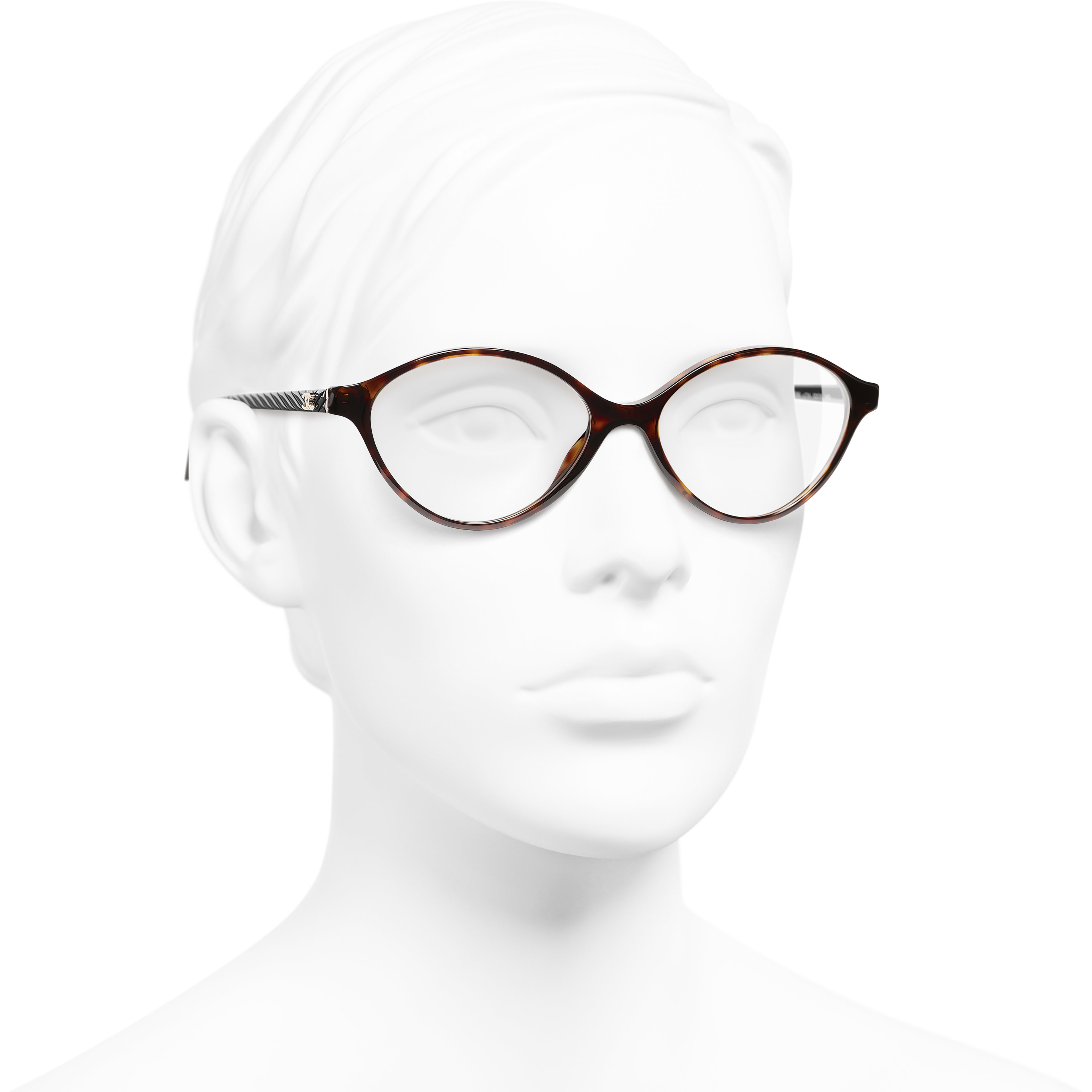 Oval Eyeglasses - Dark Tortoise - Acetate - Worn 3/4 view - see standard sized version