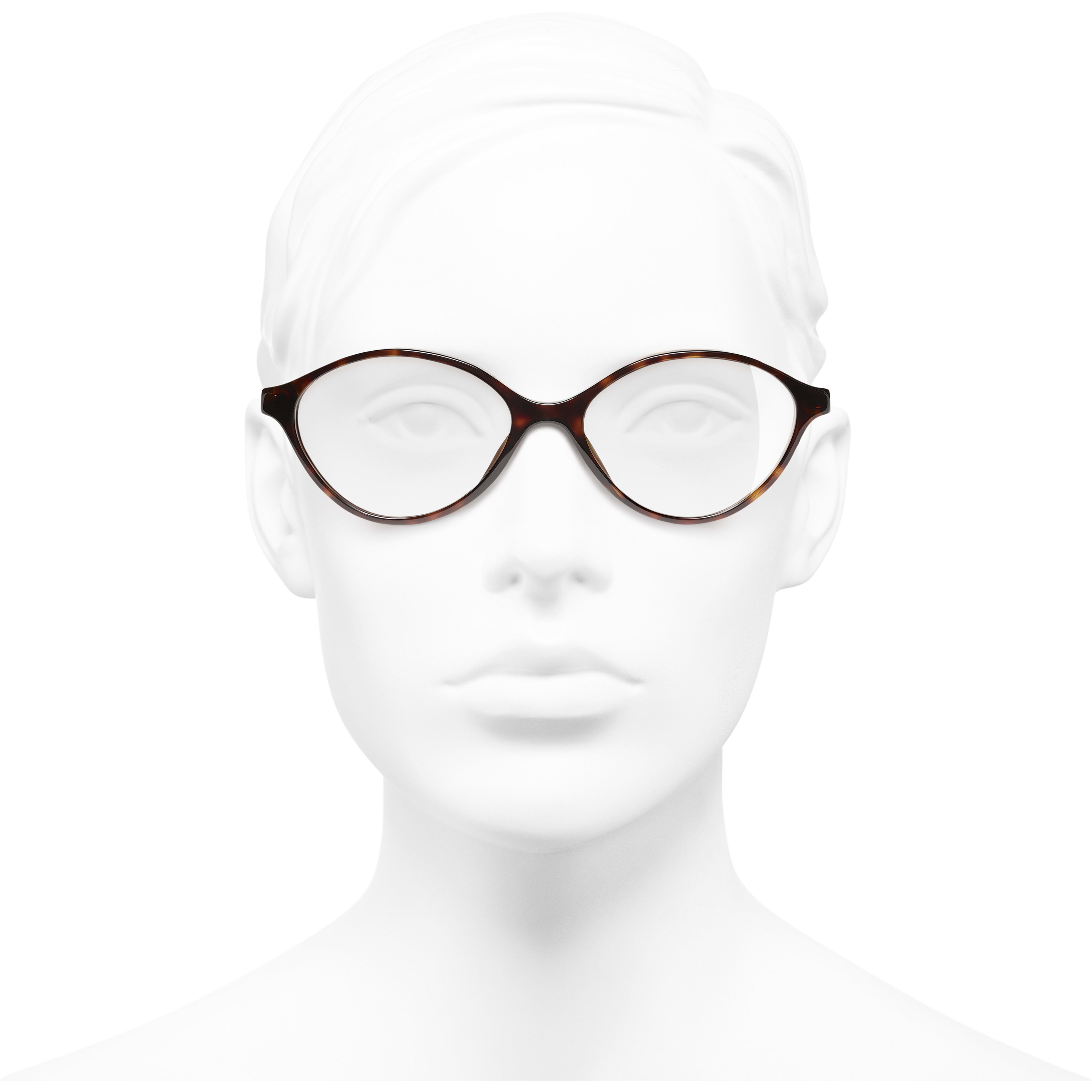 Oval Eyeglasses - Dark Tortoise - Acetate - CHANEL - Worn front view - see standard sized version