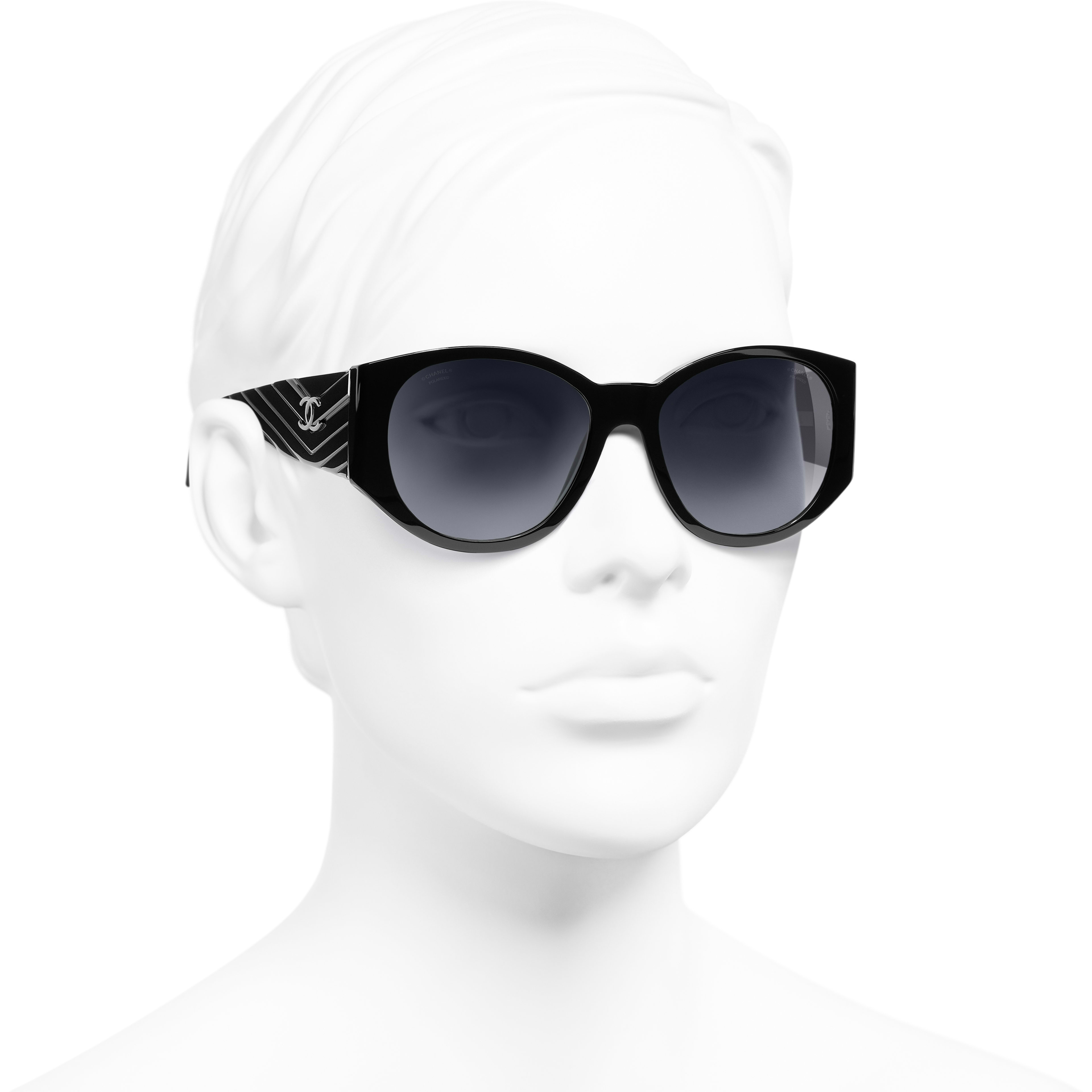 Oval Sunglasses - Black - Acetate - Worn 3/4 view - see standard sized version