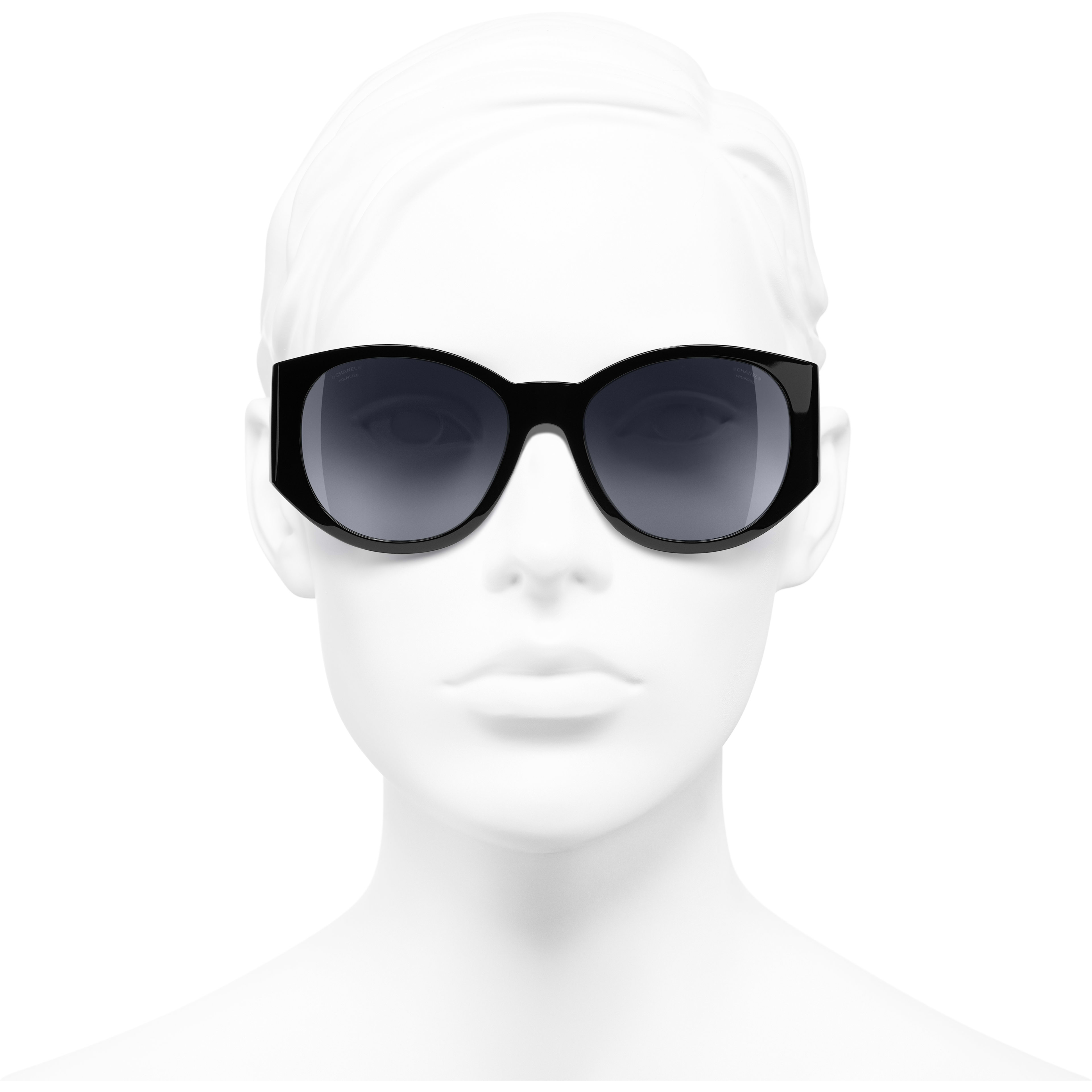 Oval Sunglasses - Black - Acetate - Worn front view - see standard sized version