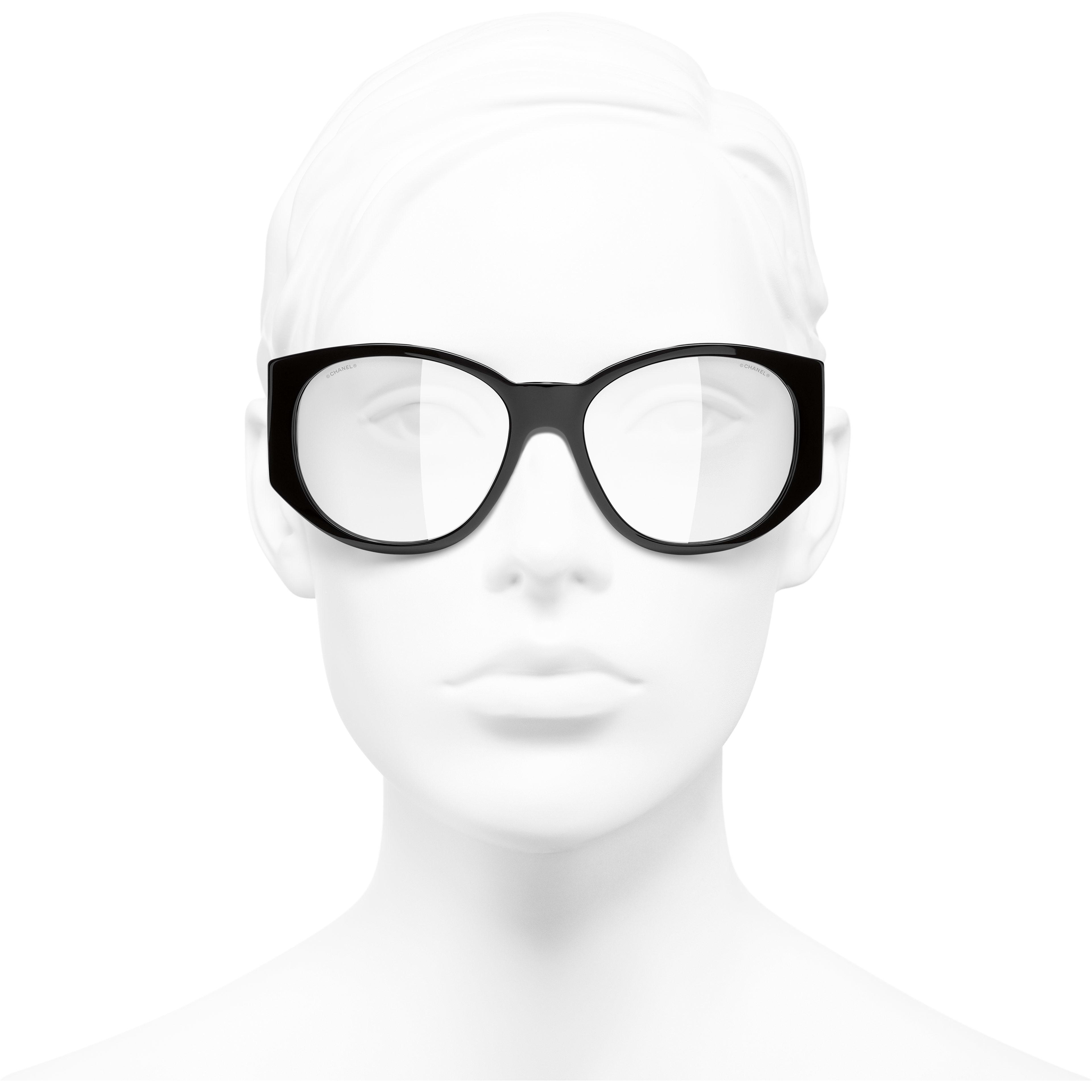 Lunettes ovales - Noir - Acétate - CHANEL - Vue de face portée - voir la version taille standard