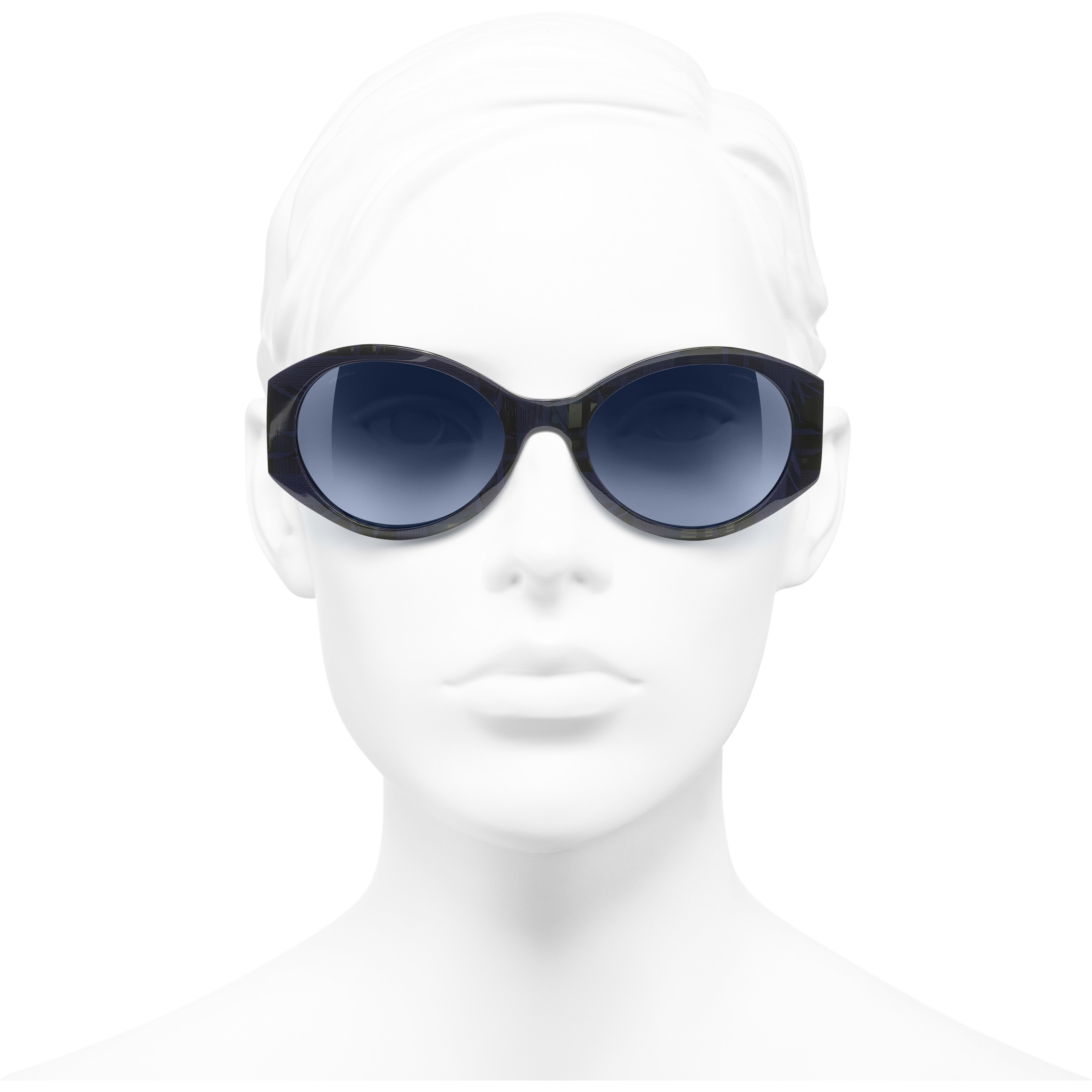 Oval Sunglasses - Blue & Dark Blue - Acetate & Denim - Worn front view - see standard sized version