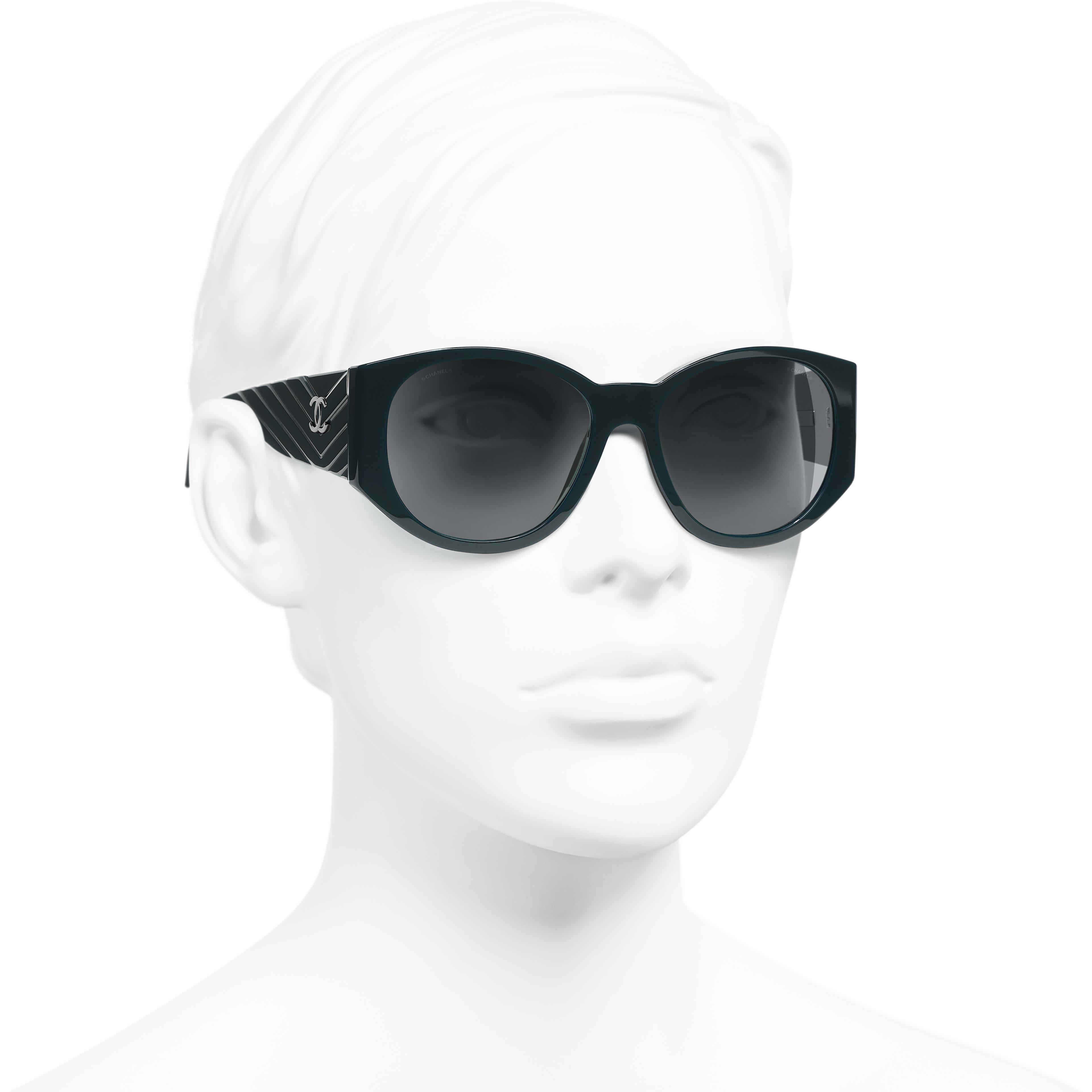 Oval Sunglasses - Dark Green - Acetate - Worn 3/4 view - see standard sized version