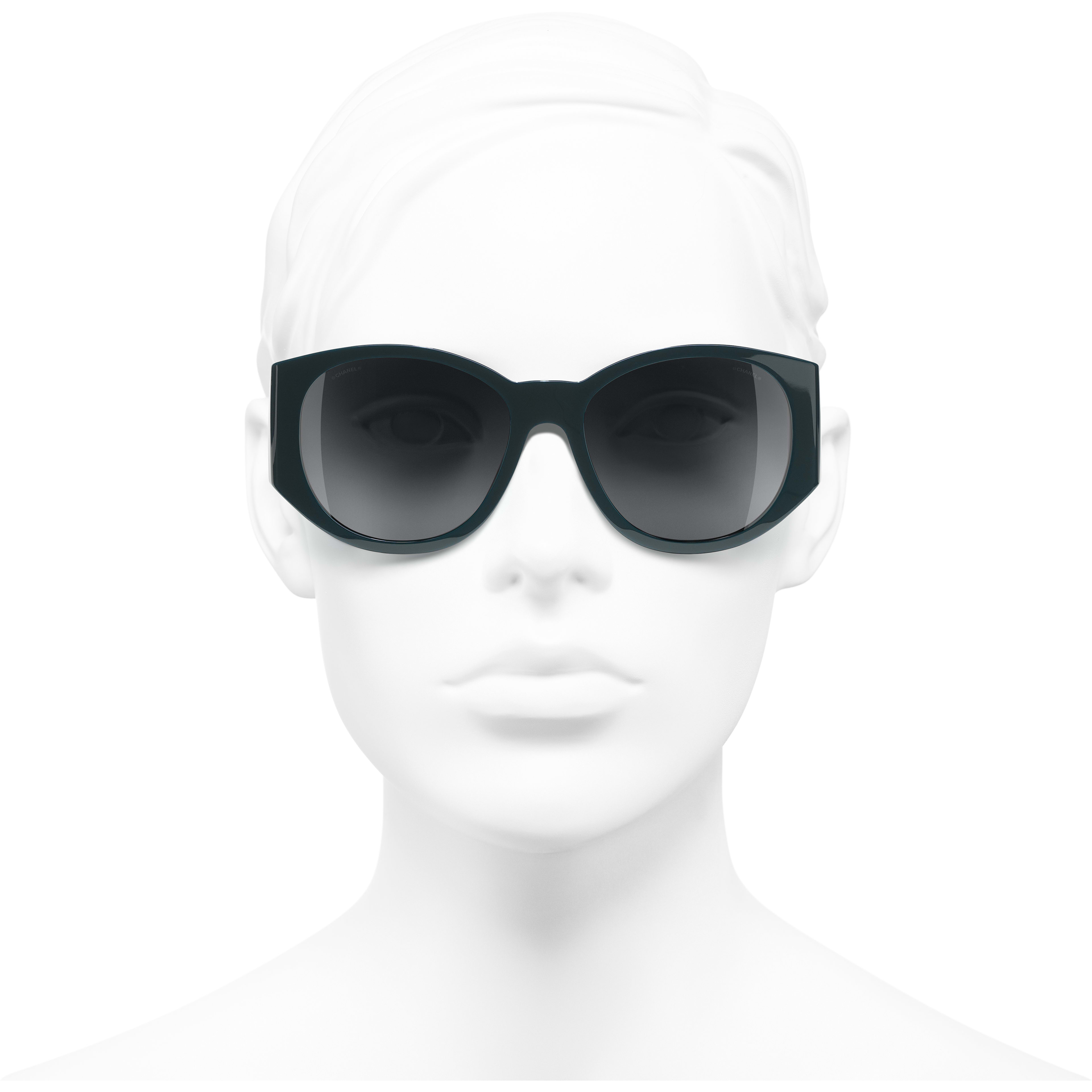 Oval Sunglasses - Dark Green - Acetate - Worn front view - see standard sized version