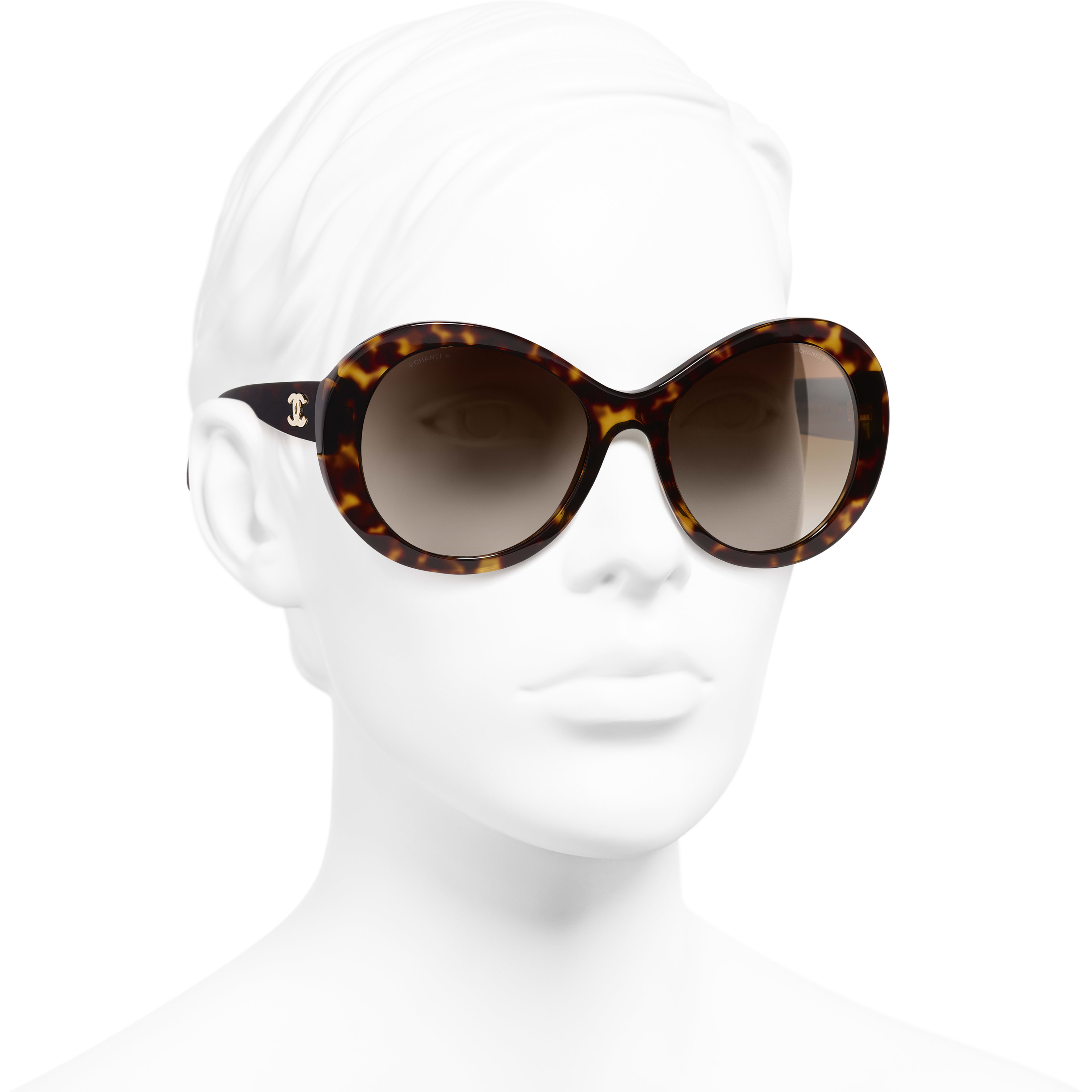 Oval Sunglasses - Dark Tortoise - Acetate - Worn 3/4 view - see standard sized version