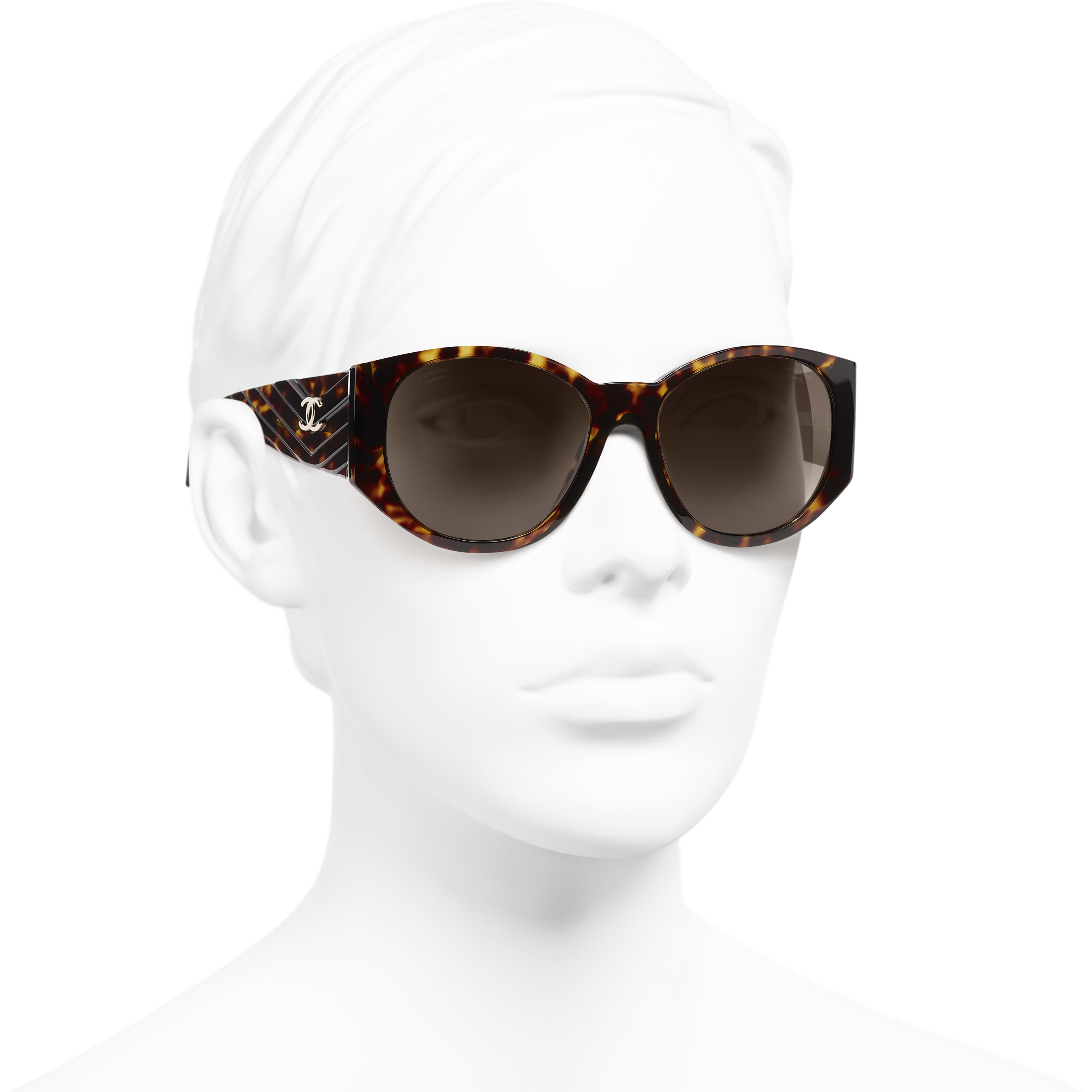 Oval Sunglasses - Dark Tortoise - Acetate - CHANEL - Worn 3/4 view - see standard sized version