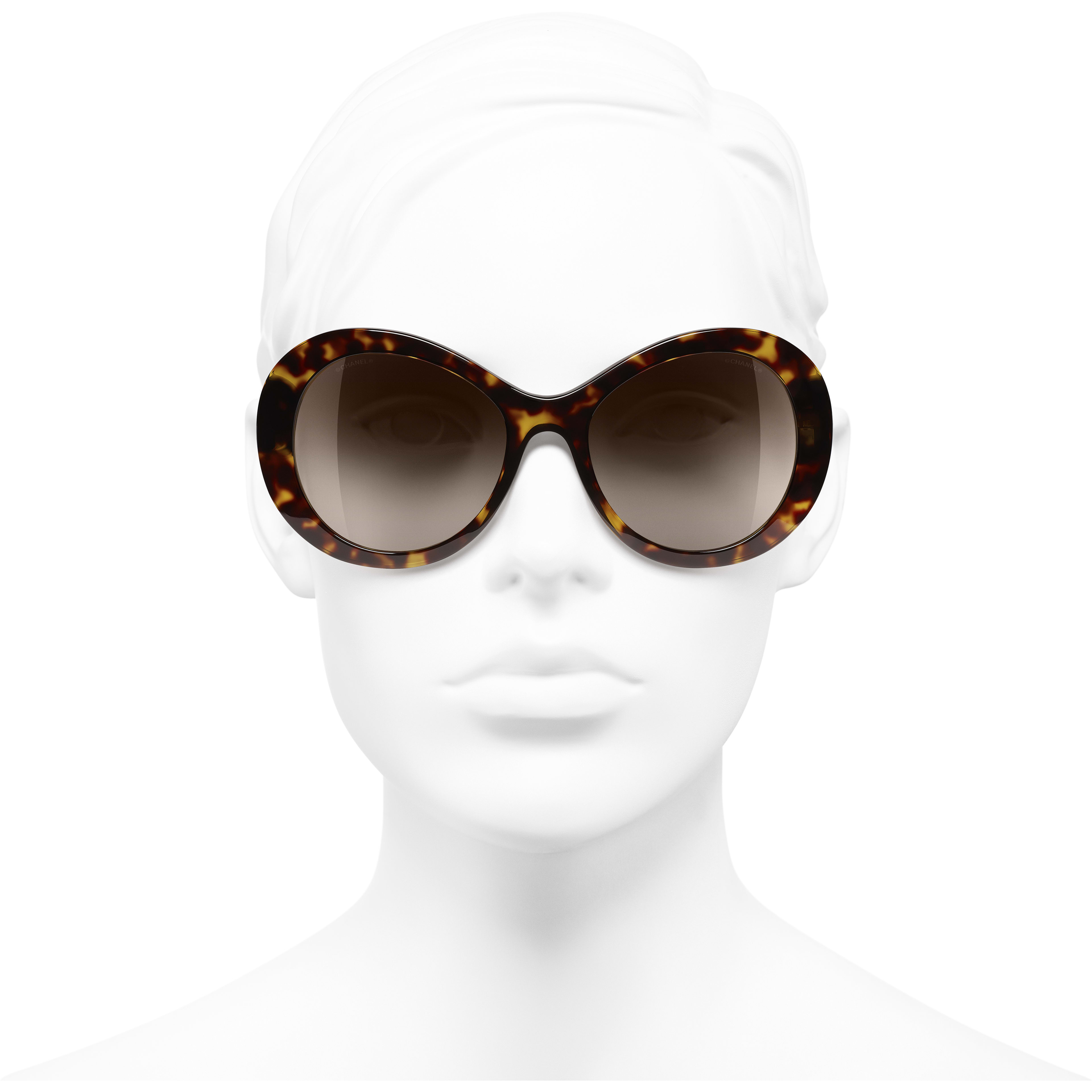 Oval Sunglasses - Dark Tortoise - Acetate - Worn front view - see standard sized version