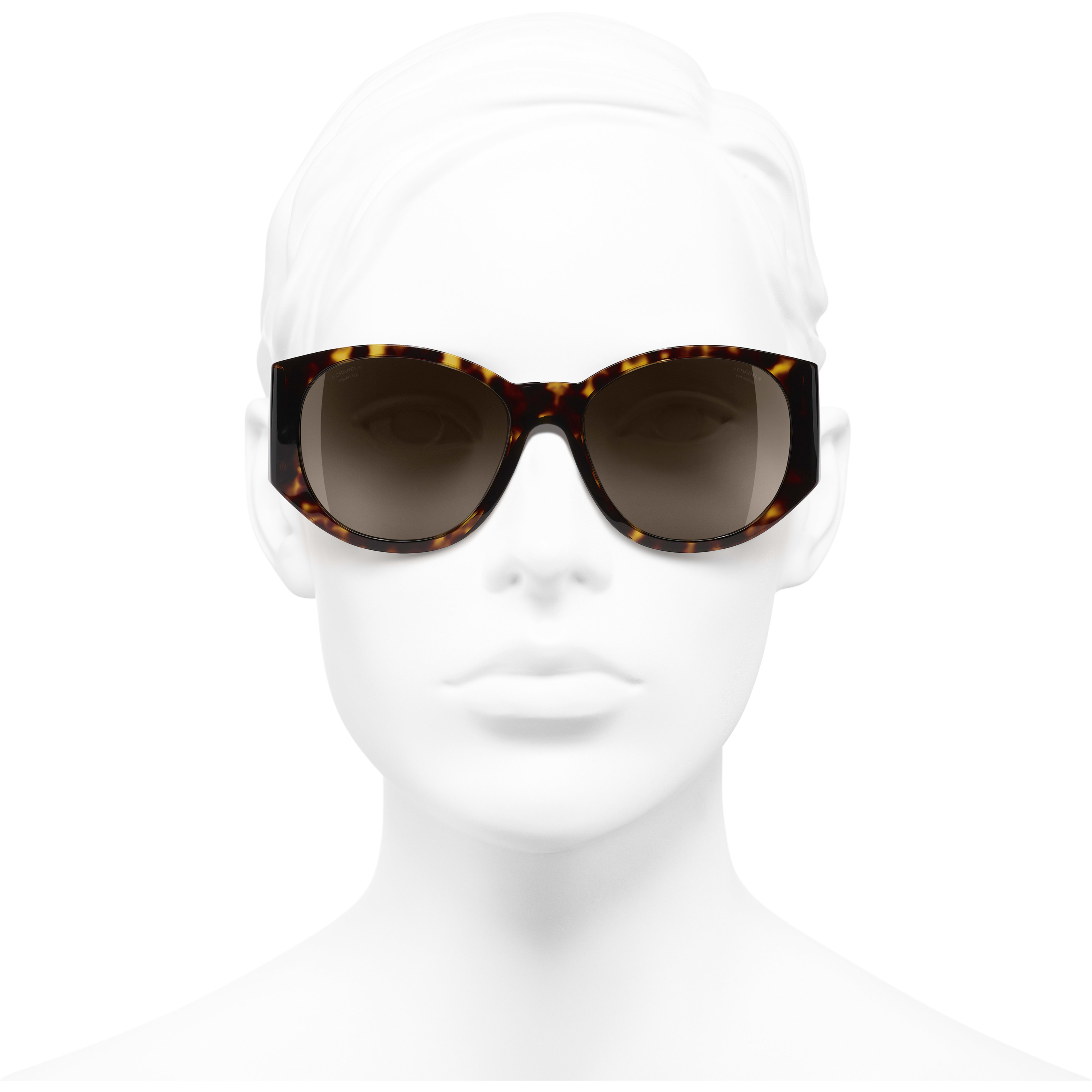 Oval Sunglasses - Dark Tortoise - Acetate - CHANEL - Worn front view - see standard sized version