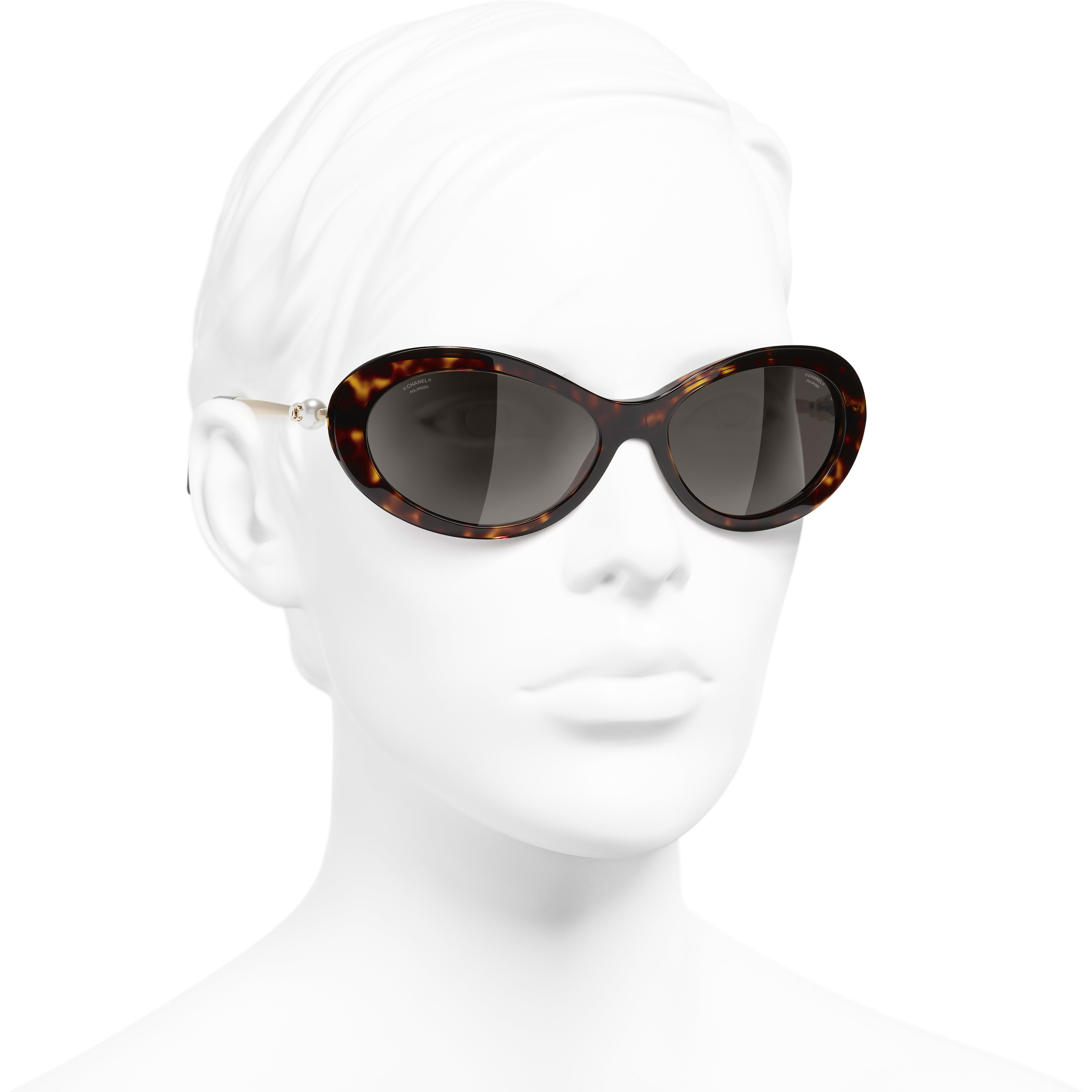 Oval Sunglasses - Dark Tortoise - Acetate & Imitation Pearls - CHANEL - Worn 3/4 view - see standard sized version