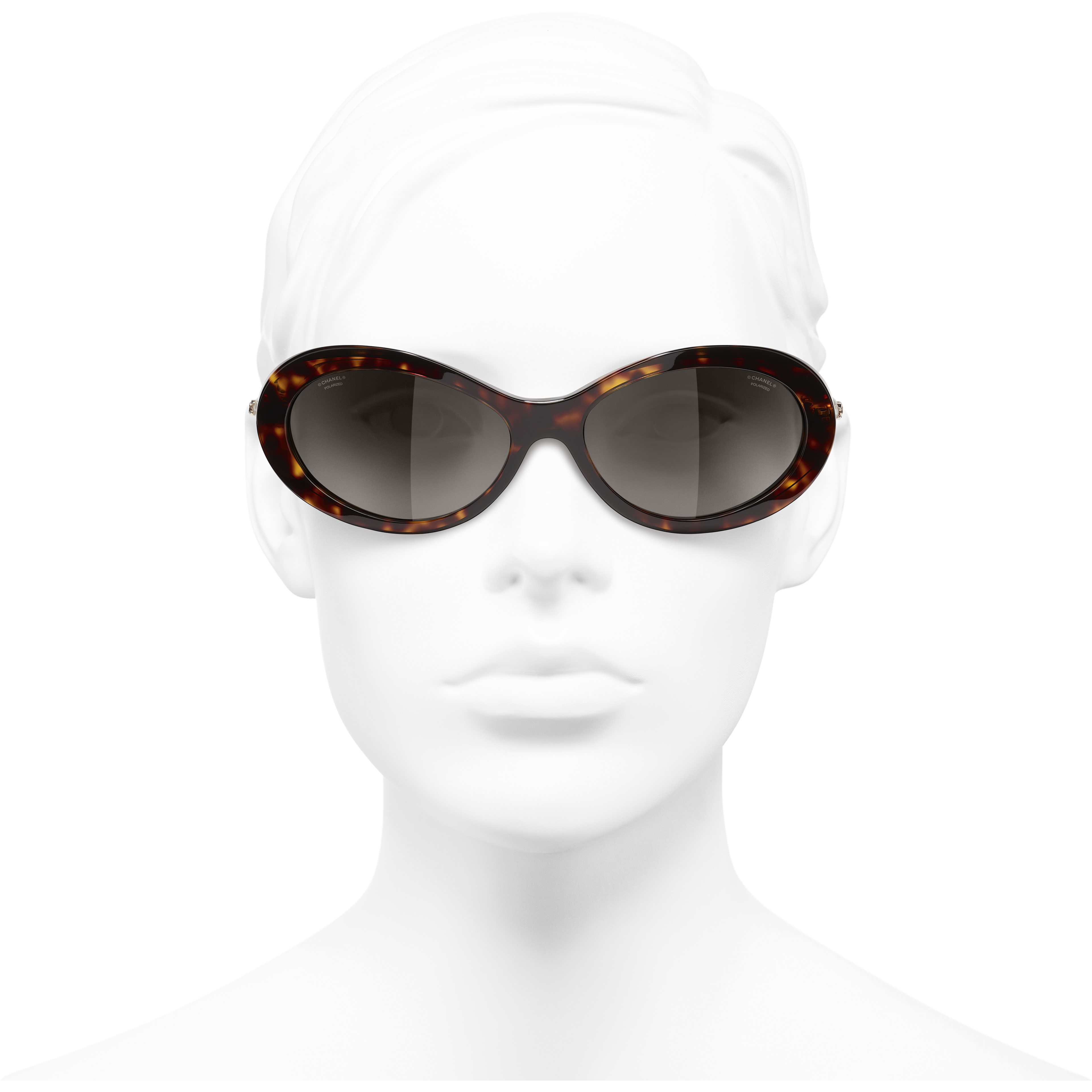 Oval Sunglasses - Dark Tortoise - Acetate & Imitation Pearls - CHANEL - Worn front view - see standard sized version
