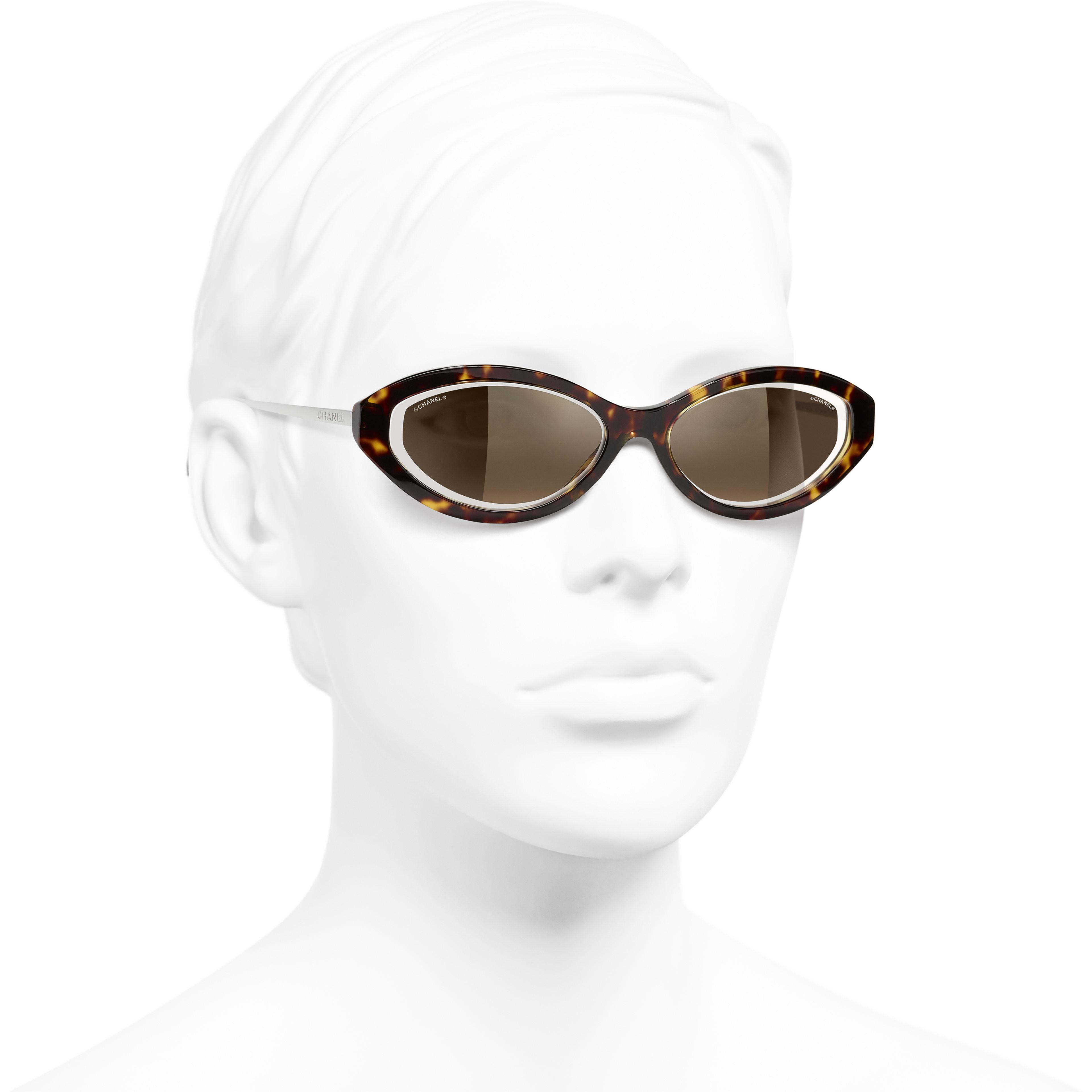 Oval Sunglasses - Dark Tortoise - Acetate & Metal - CHANEL - Worn 3/4 view - see standard sized version