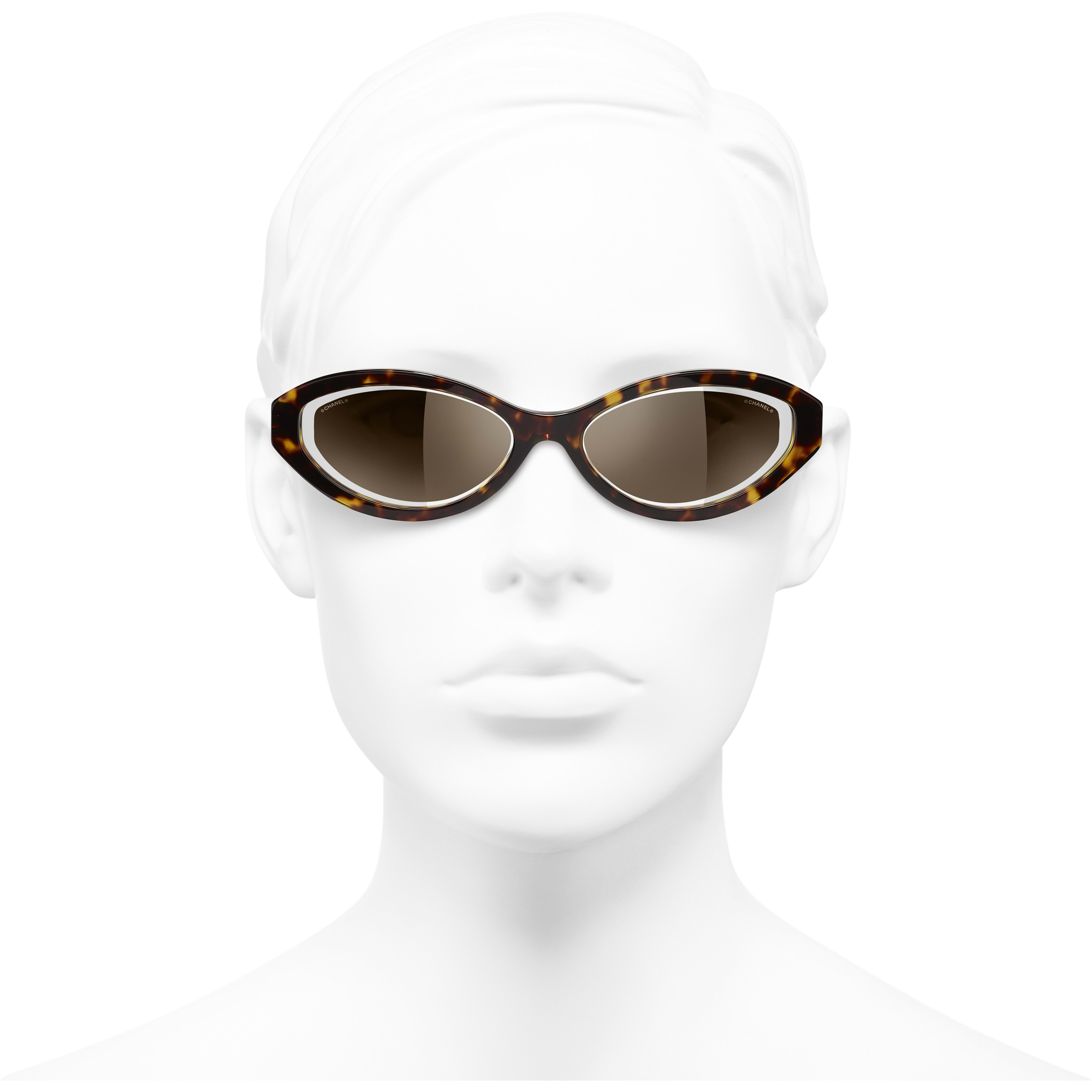 Oval Sunglasses - Dark Tortoise - Acetate & Metal - CHANEL - Worn front view - see standard sized version