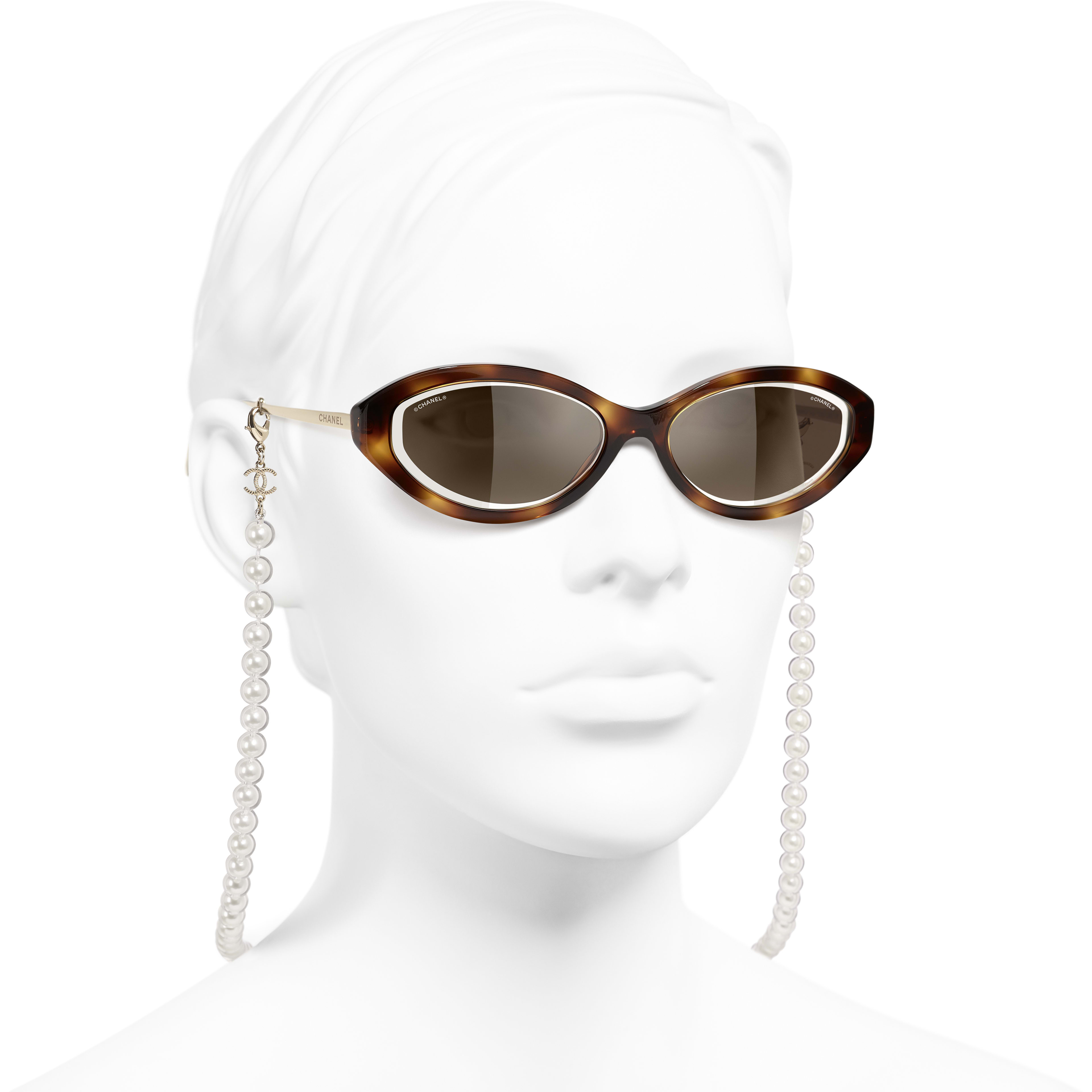 Oval Sunglasses - Tortoise - Metal, Acetate, Resin & Glass Pearls - CHANEL - Worn 3/4 view - see standard sized version