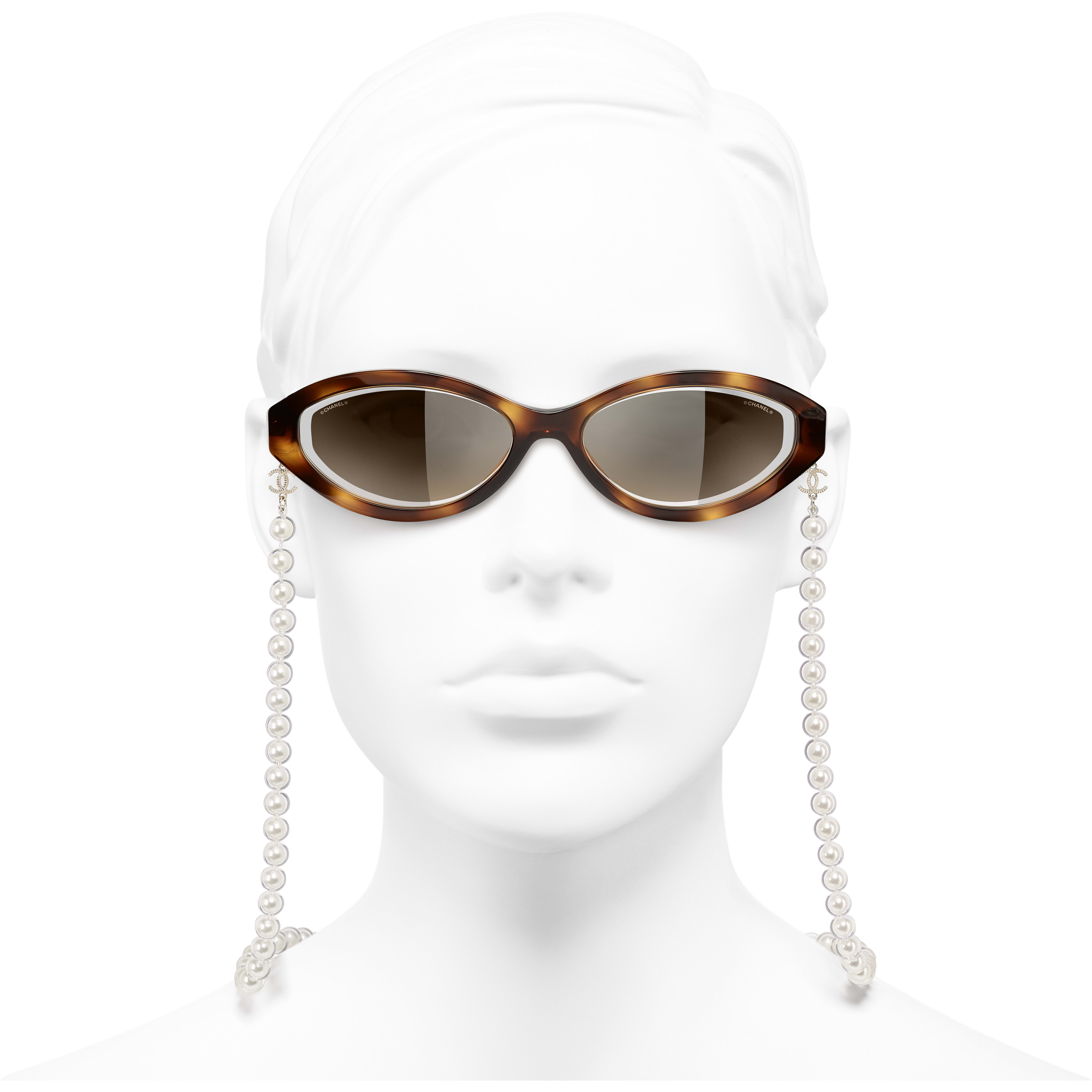 Oval Sunglasses - Tortoise - Metal, Acetate, Resin & Glass Pearls - CHANEL - Worn front view - see standard sized version