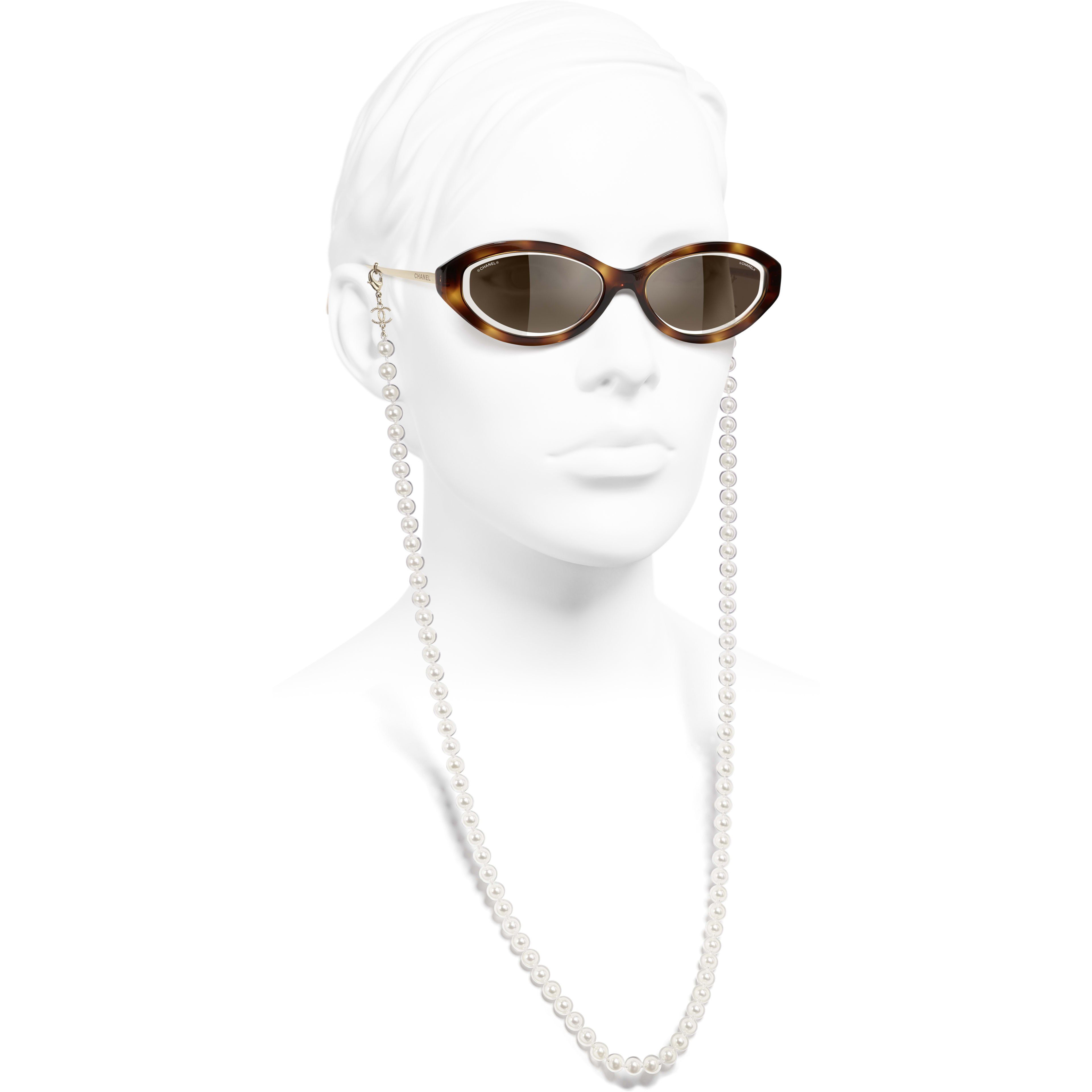 Oval Sunglasses - Tortoise - Metal, Acetate, Resin & Glass Pearls - CHANEL - Worn side view - see standard sized version