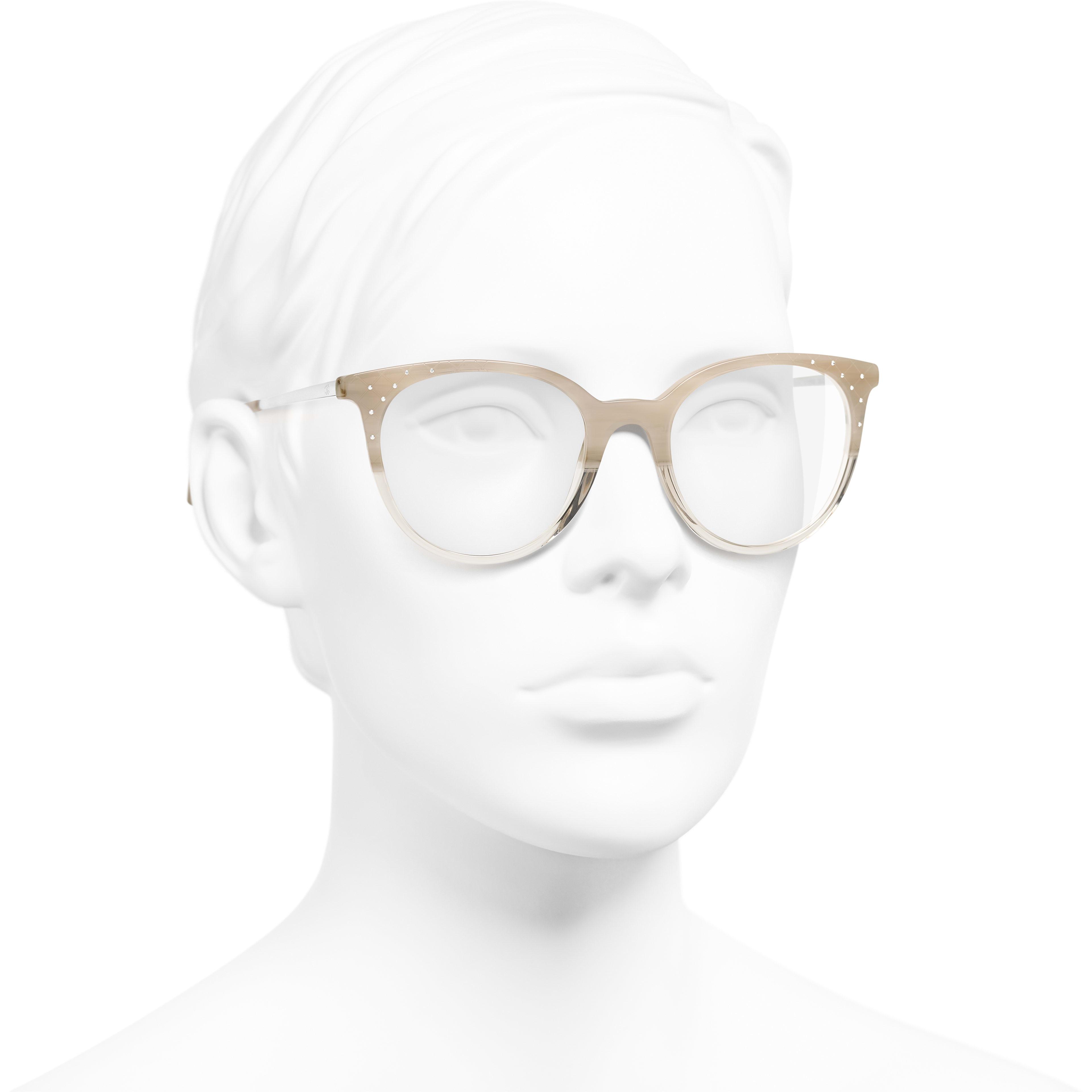 Pantos Eyeglasses - Beige - Acetate, Metal & Diamanté - Worn 3/4 view - see standard sized version